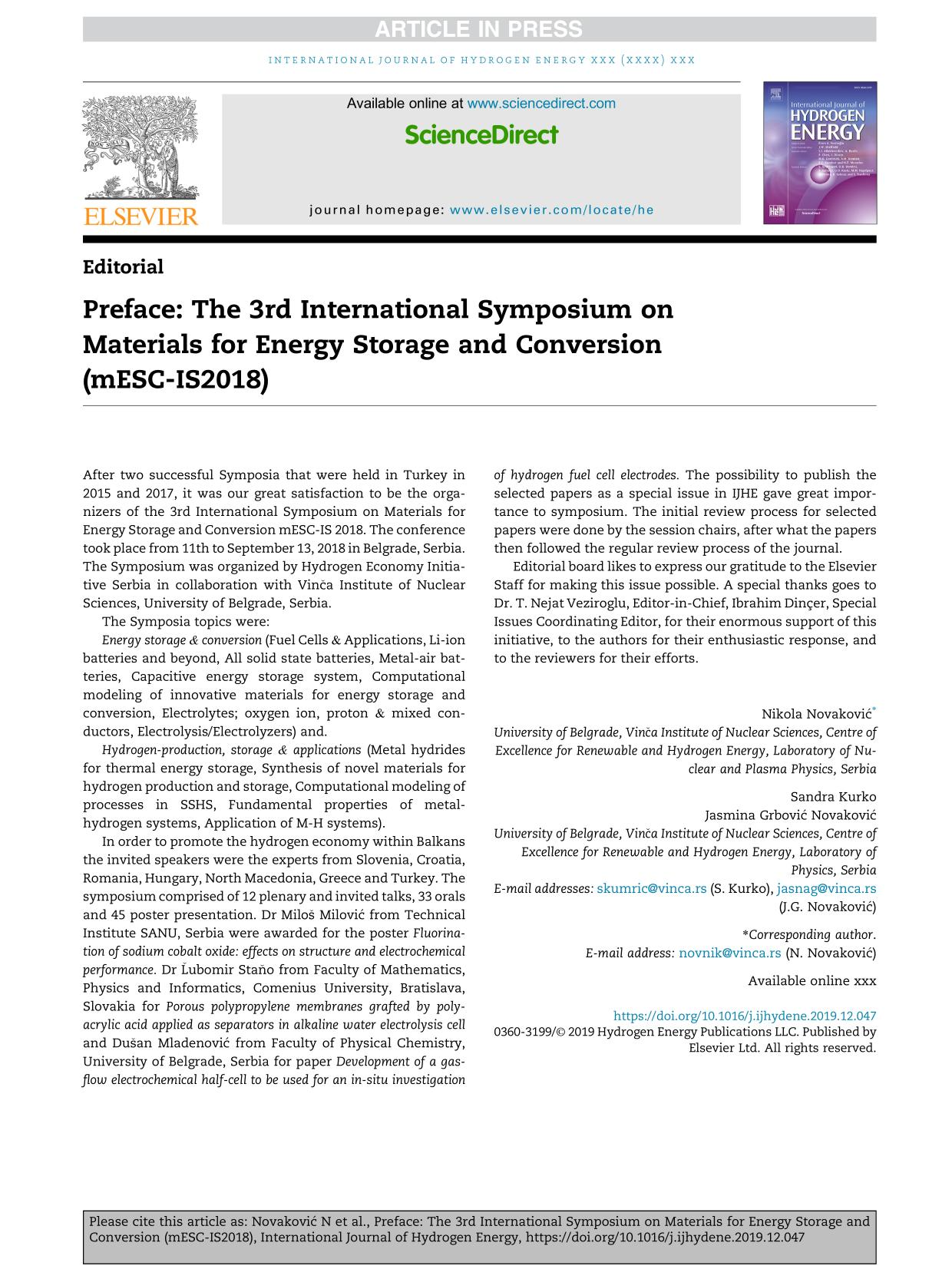 पुस्तक आवरण Preface: The 3rd International Symposium on Materials for Energy Storage and Conversion (mESC-IS2018)