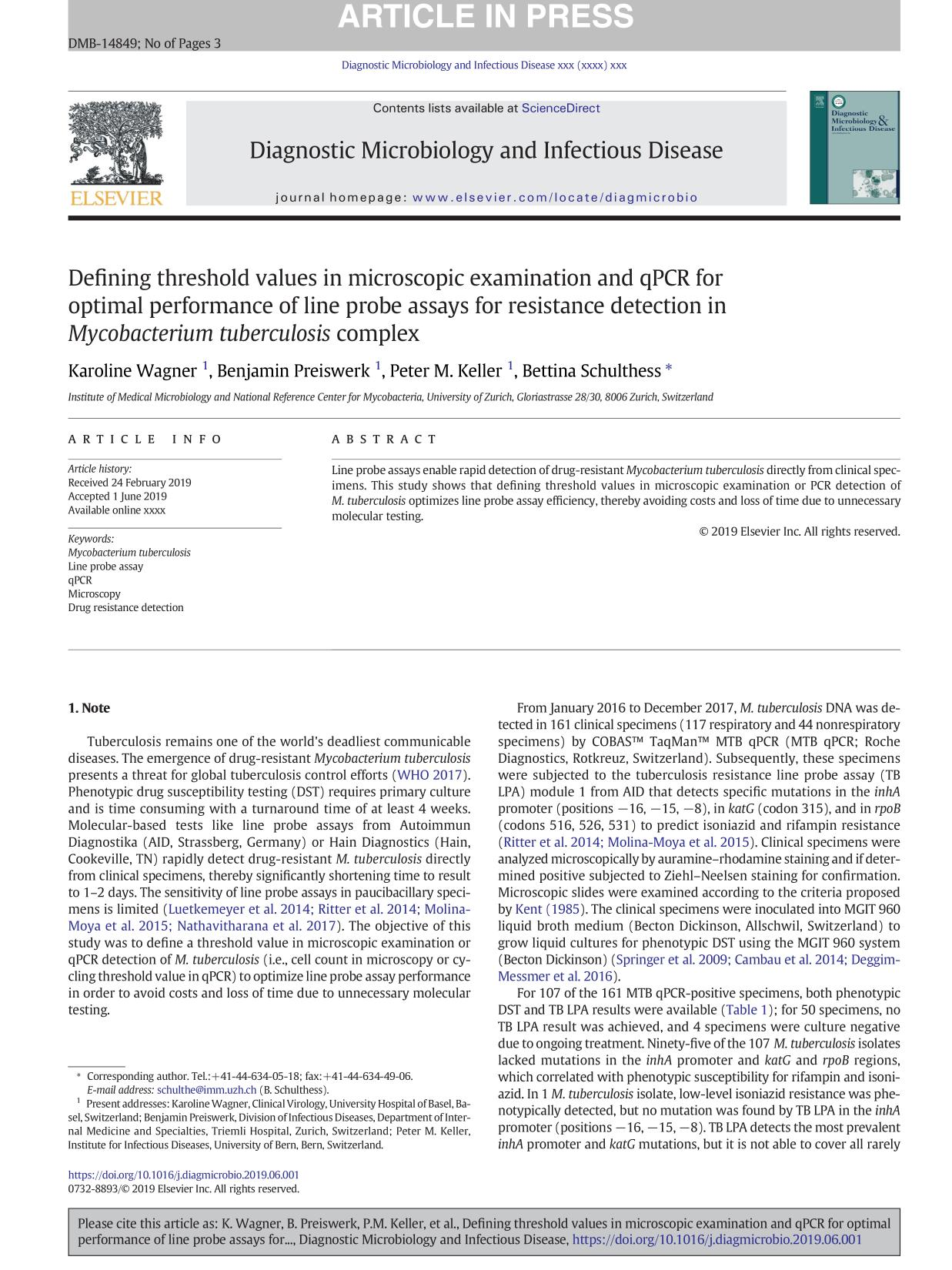 Book cover Defining threshold values in microscopic examination and qPCR for optimal performance of line probe assays for resistance detection in Mycobacterium tuberculosis complex