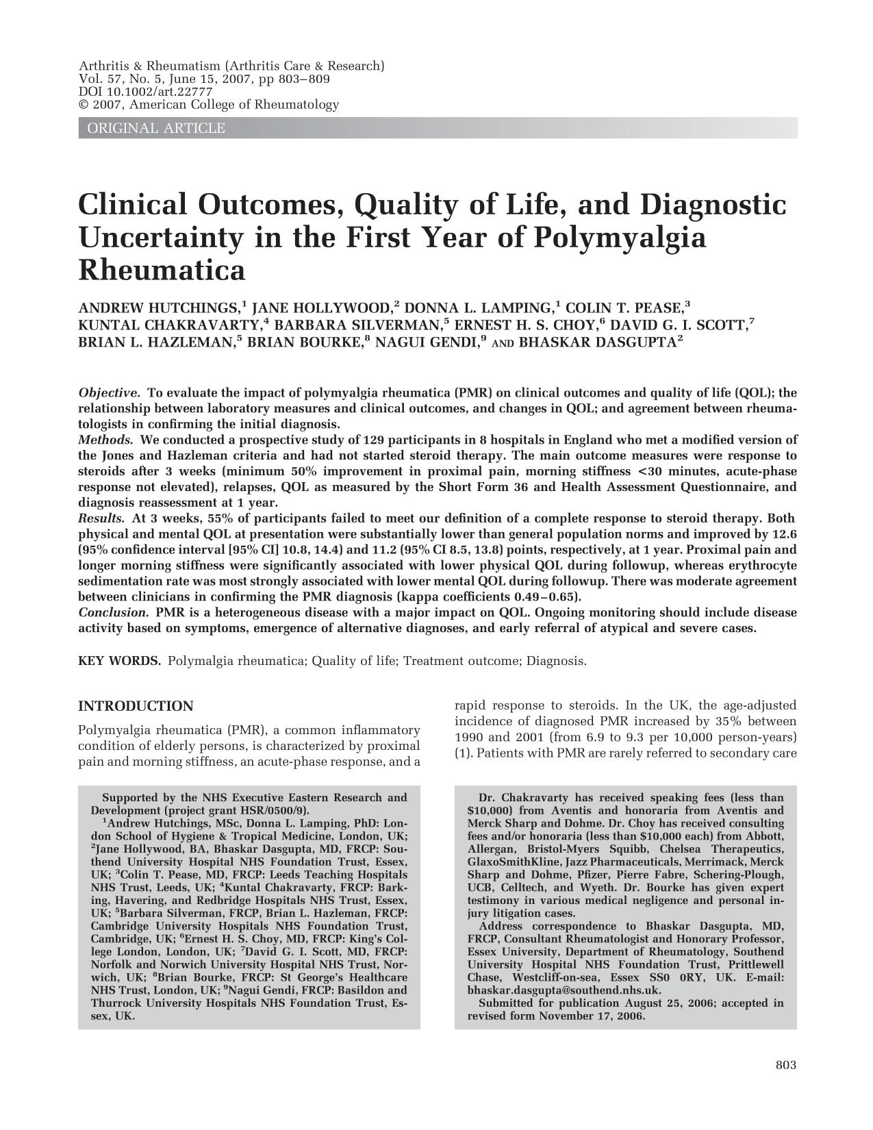 Book cover Clinical outcomes, quality of life, and diagnostic uncertainty in the first year of polymyalgia rheumatica