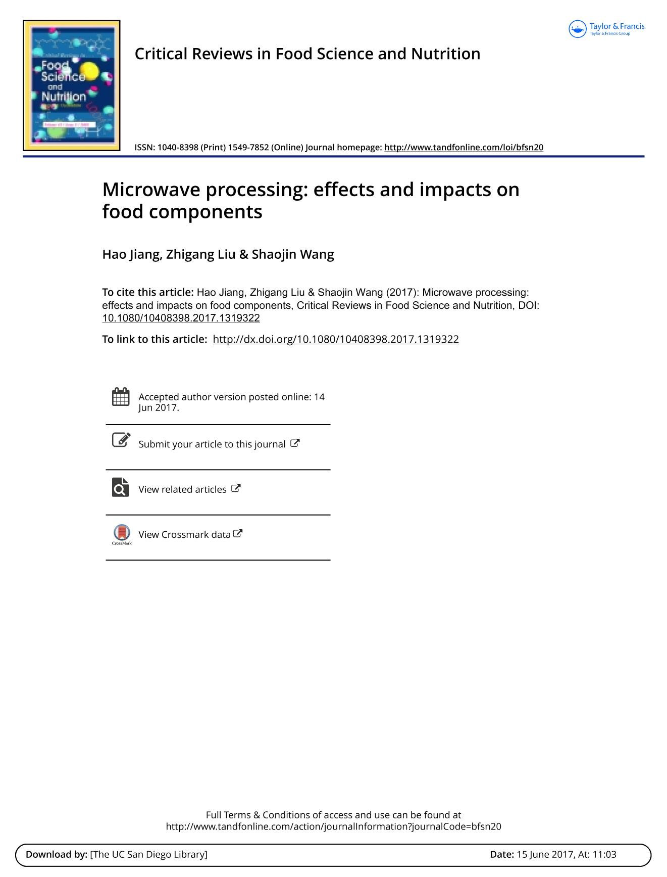 Portada del libro Microwave processing: effects and impacts on food components
