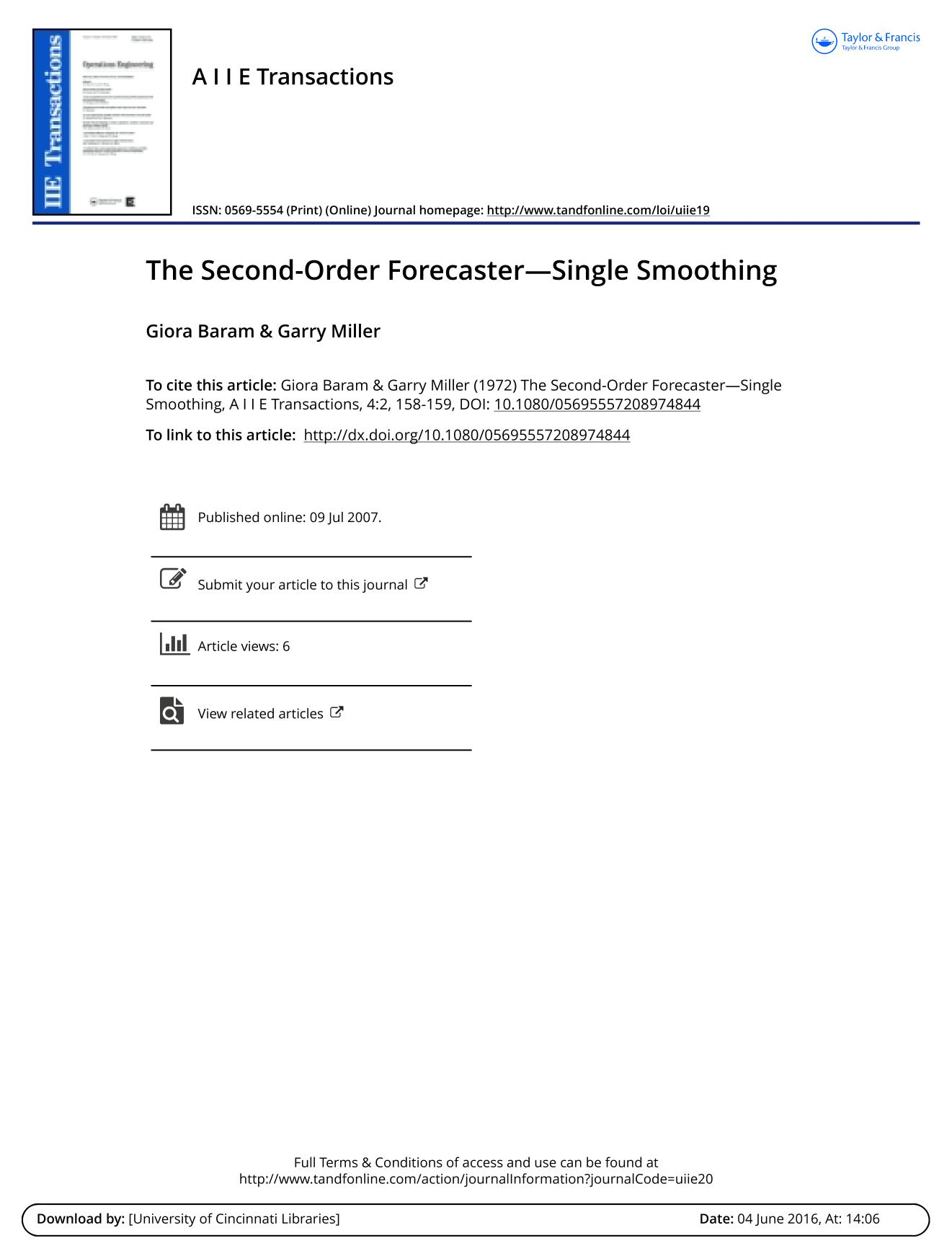Обкладинка книги The Second-Order Forecaster—Single Smoothing