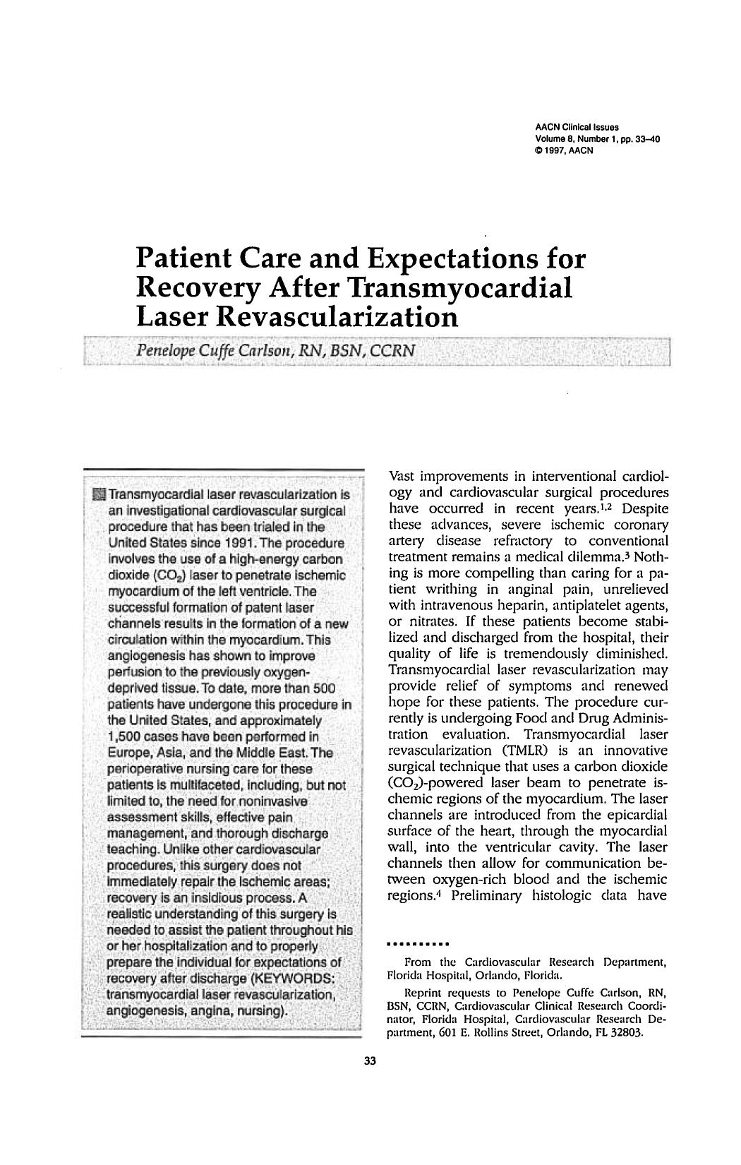 Book cover Patient Care and Expectations for Recovery After Transmyocardial Laser Revascularization