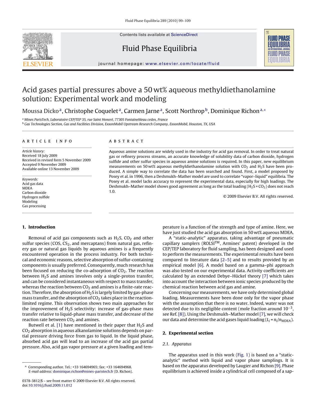 Portada del libro Acid gases partial pressures above a 50 wt% aqueous methyldiethanolamine solution: Experimental work and modeling