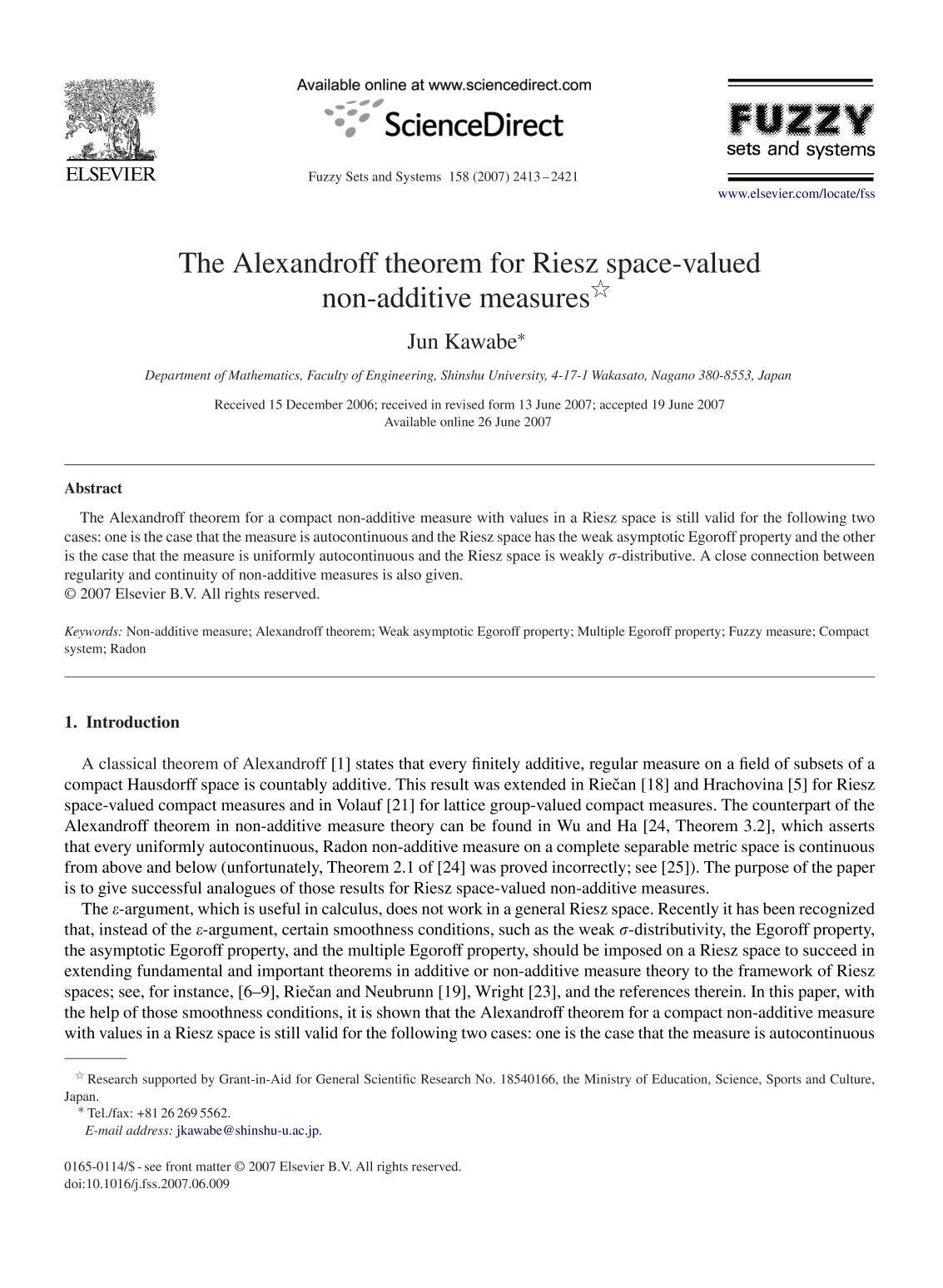 表紙 The Alexandroff theorem for Riesz space-valued non-additive measures