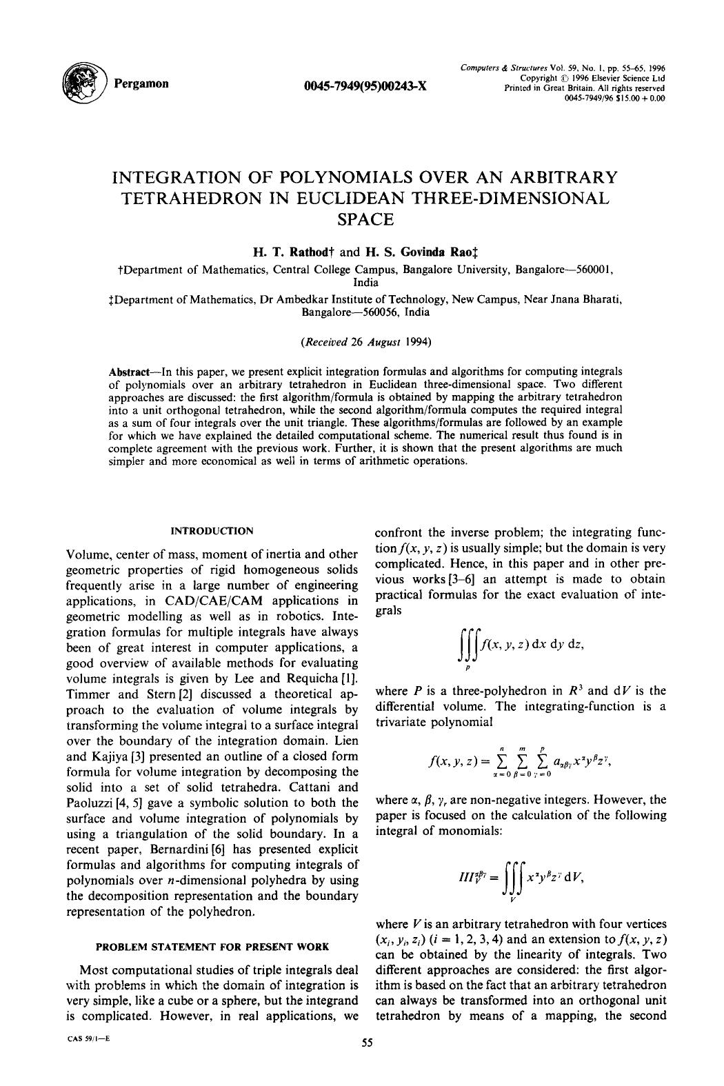 Copertina Integration of polynomials over an arbitrary tetrahedron in Euclidean three-dimensional space