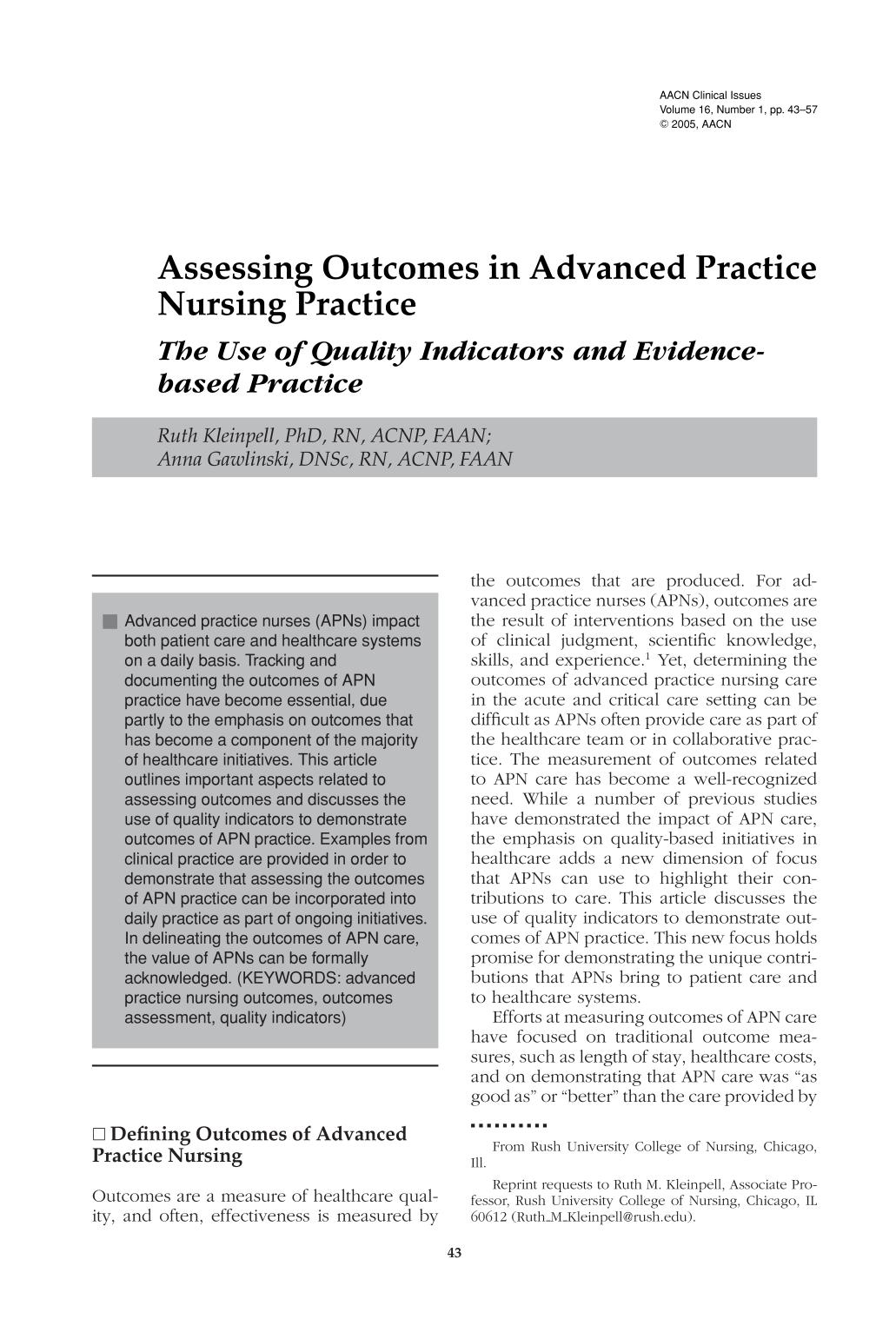 Book cover Assessing Outcomes in Advanced Practice Nursing Practice