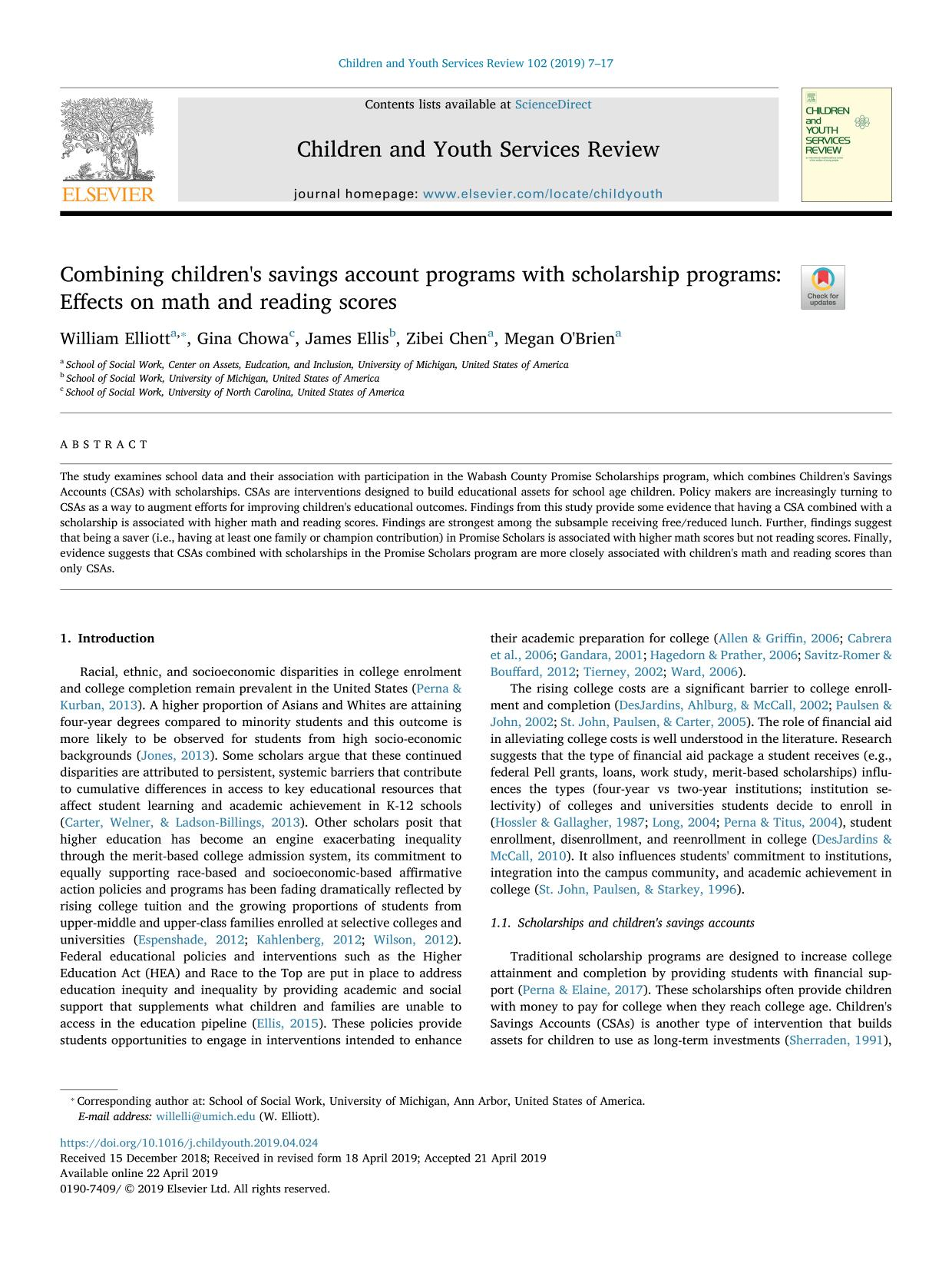 capa de livro Combining children's savings account programs with scholarship programs: Effects on math and reading scores