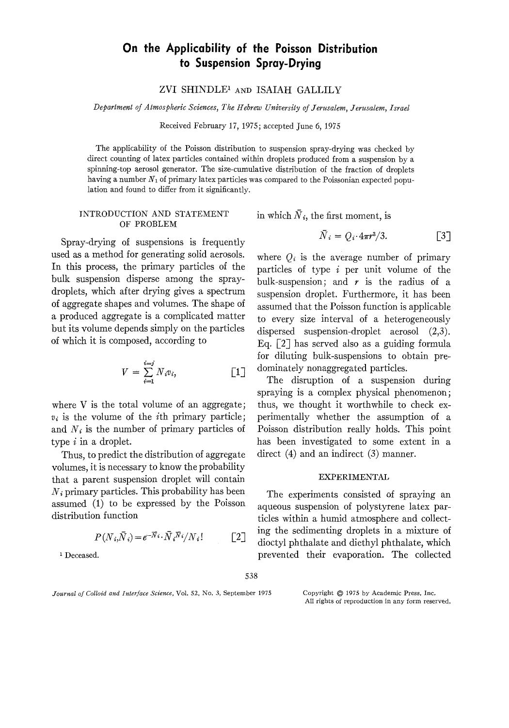 書籍の表紙 On the applicability of the poisson distribution to suspension spray-drying