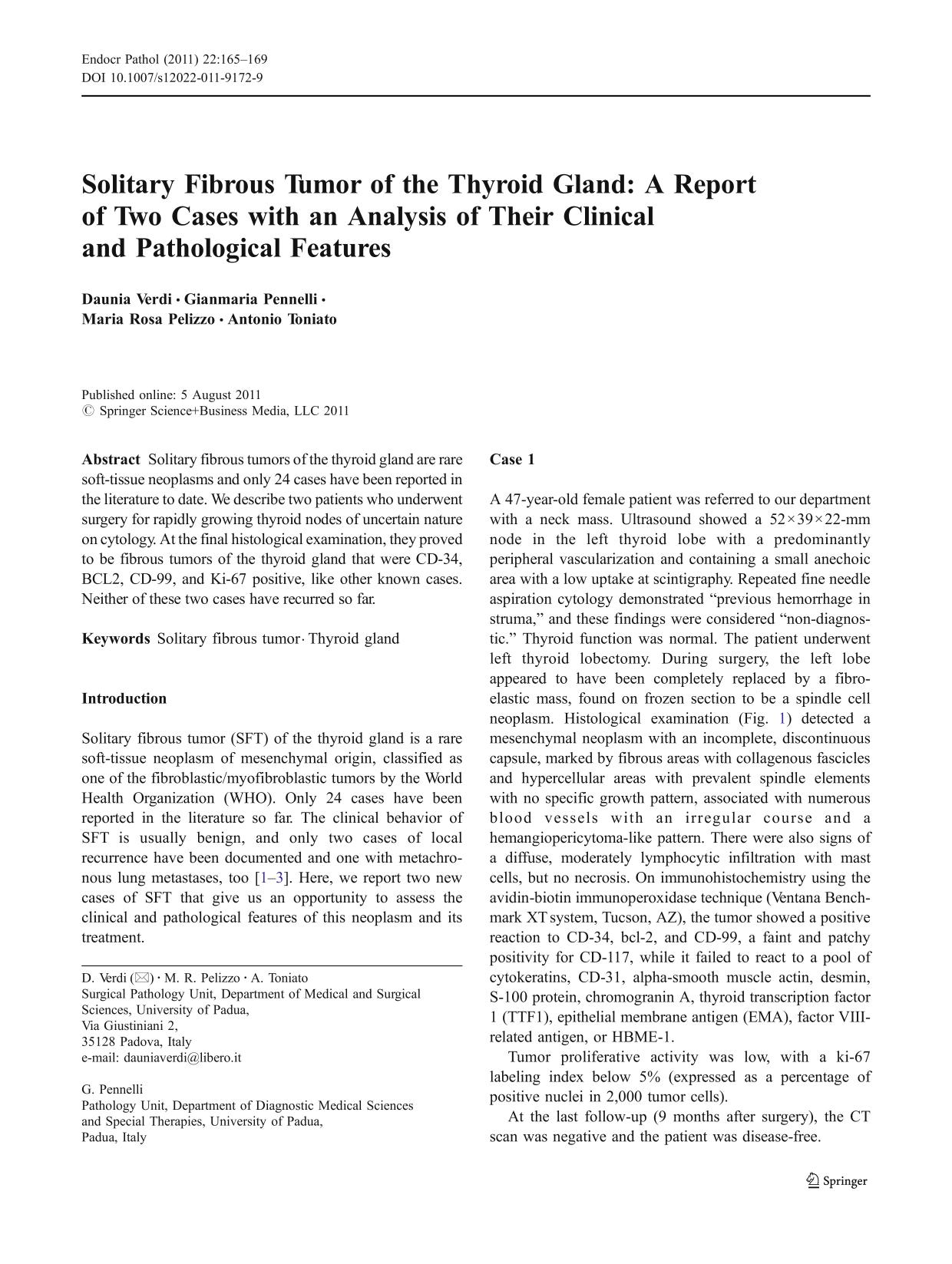 Portada del libro Solitary Fibrous Tumor of the Thyroid Gland: A Report of Two Cases with an Analysis of Their Clinical and Pathological Features