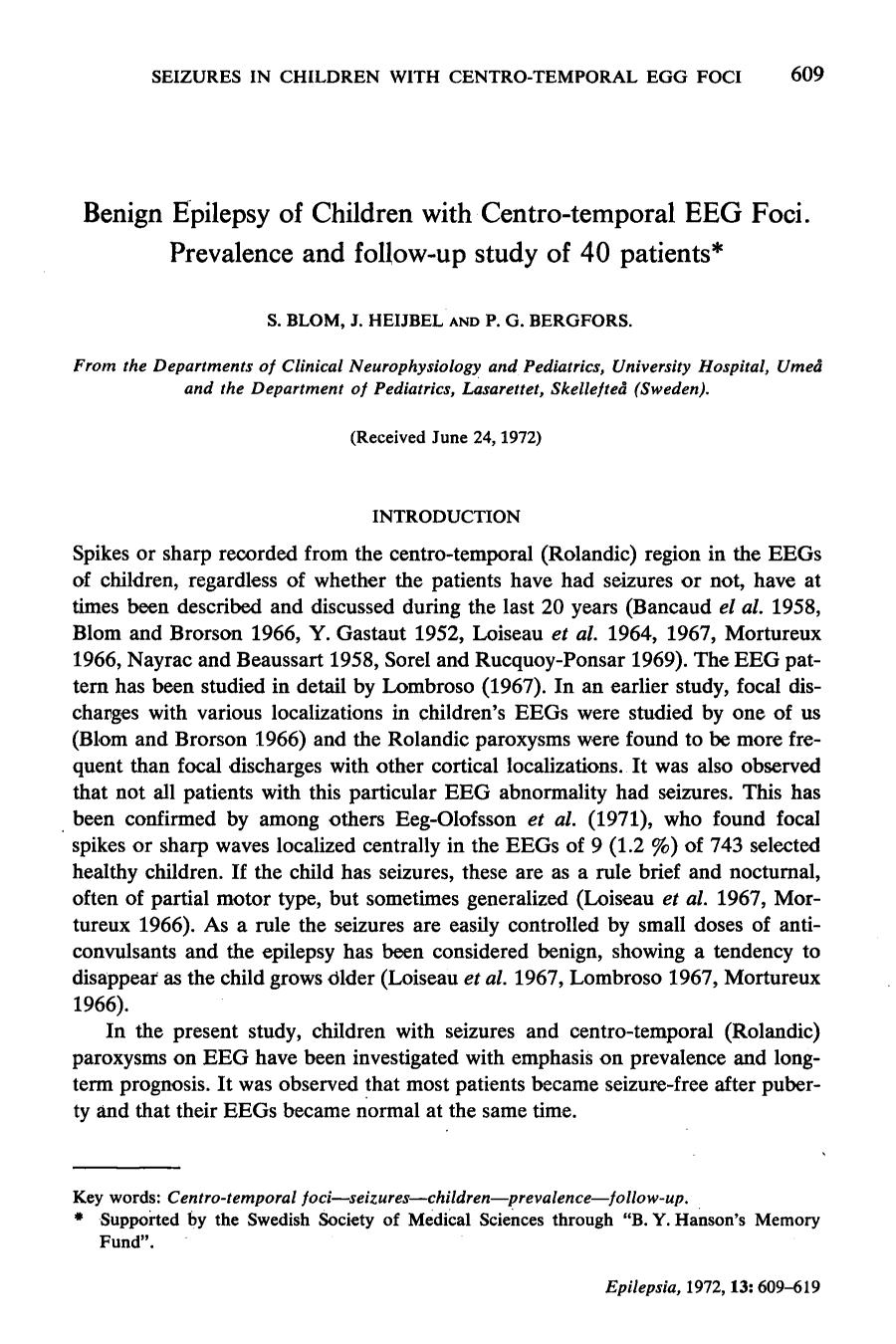 Portada del libro Benign Epilepsy of Children with Centro-temporal EEG Foci. Prevalence and follow-up study of 40 patients*