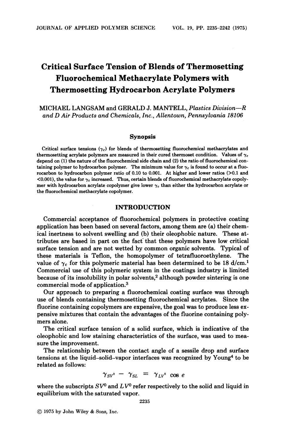 Couverture du livre Critical surface tension of blends of thermosetting fluorochemical methacrylate polymers with thermosetting hydrocarbon acrylate polymers