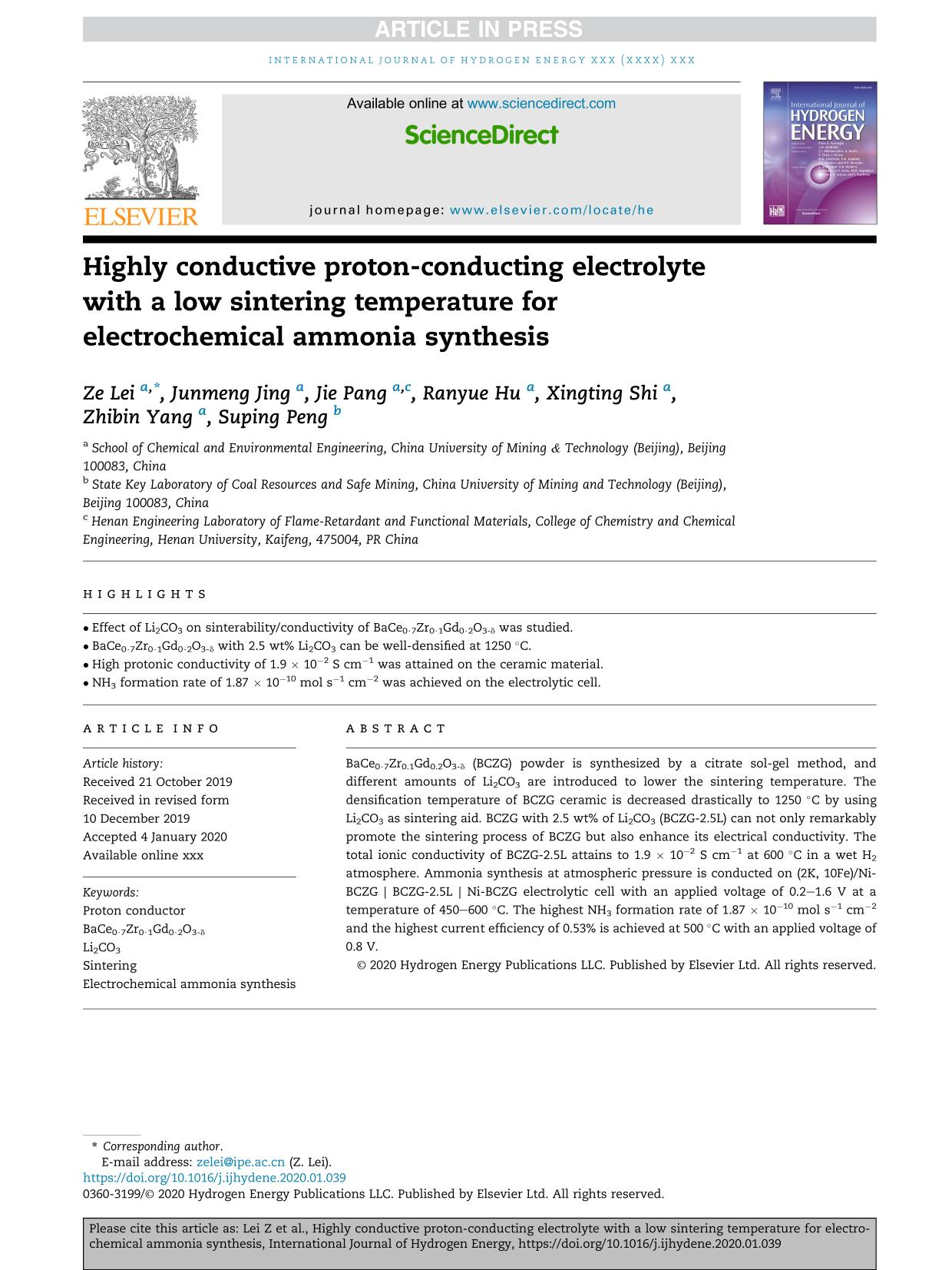 Portada del libro Highly conductive proton-conducting electrolyte with a low sintering temperature for electrochemical ammonia synthesis