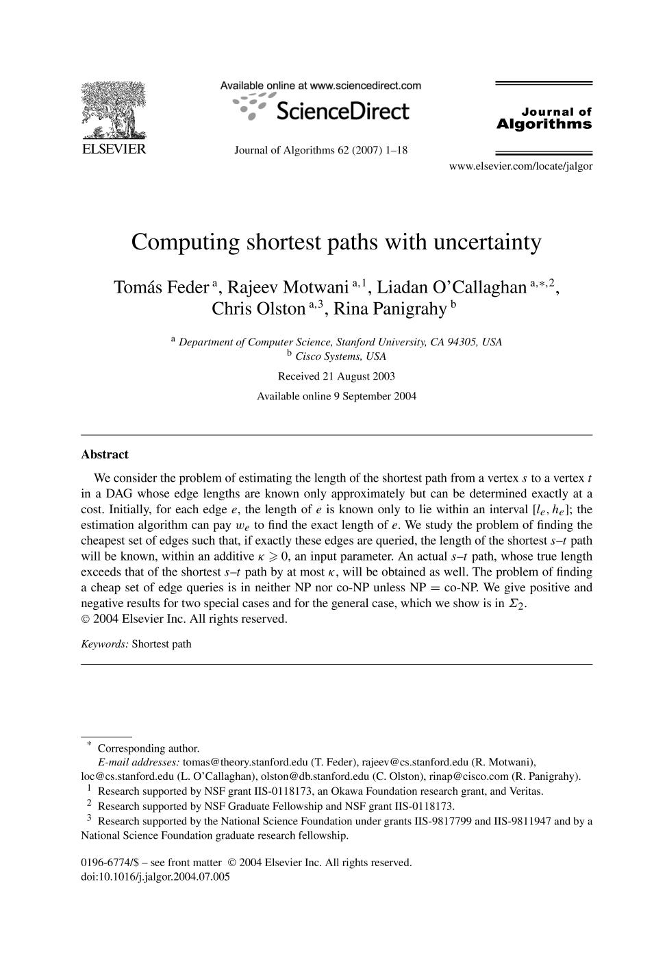 Обложка книги Computing shortest paths with uncertainty
