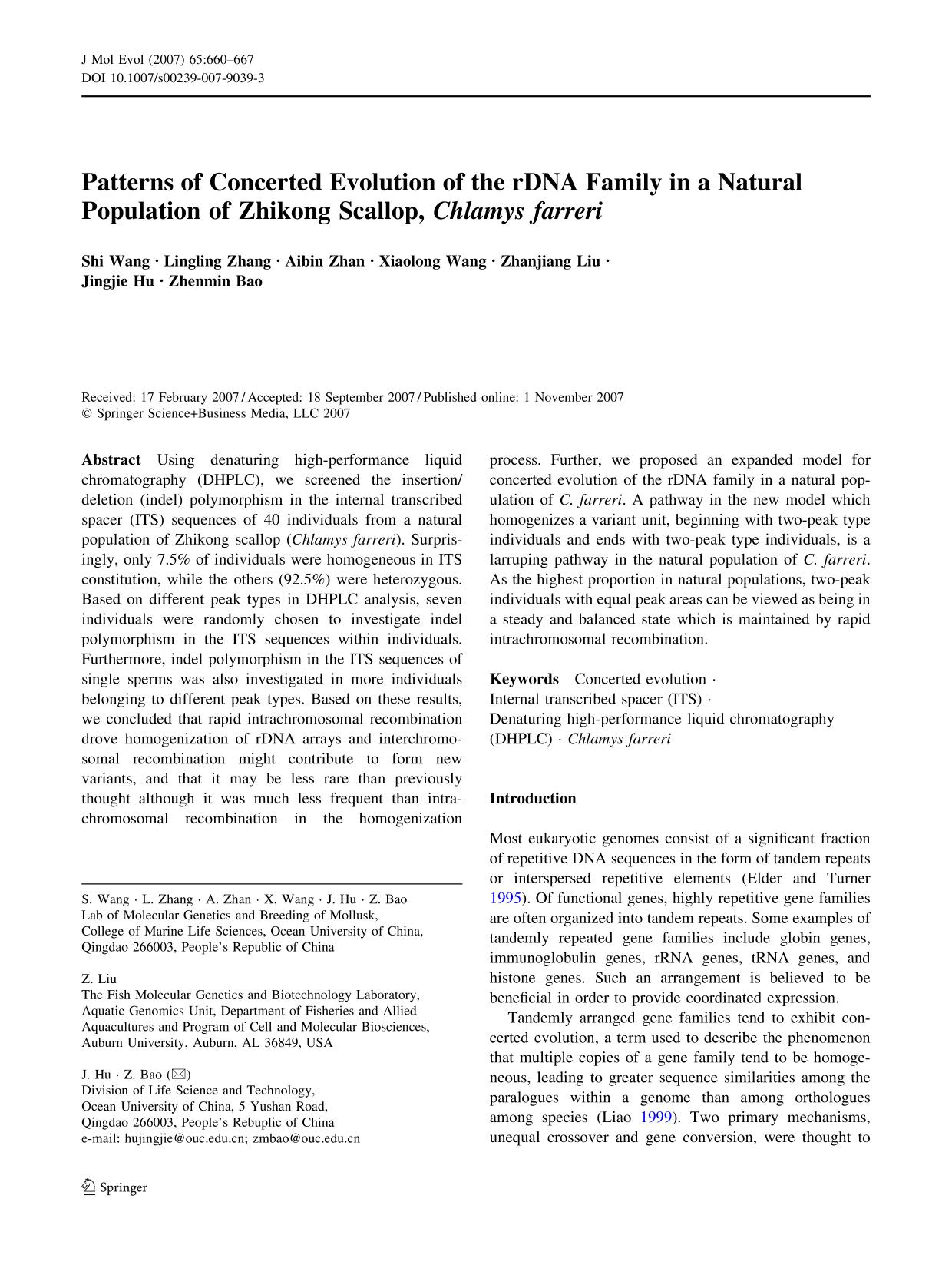 Portada del libro Patterns of Concerted Evolution of the rDNA Family in a Natural Population of Zhikong Scallop,Chlamys farreri