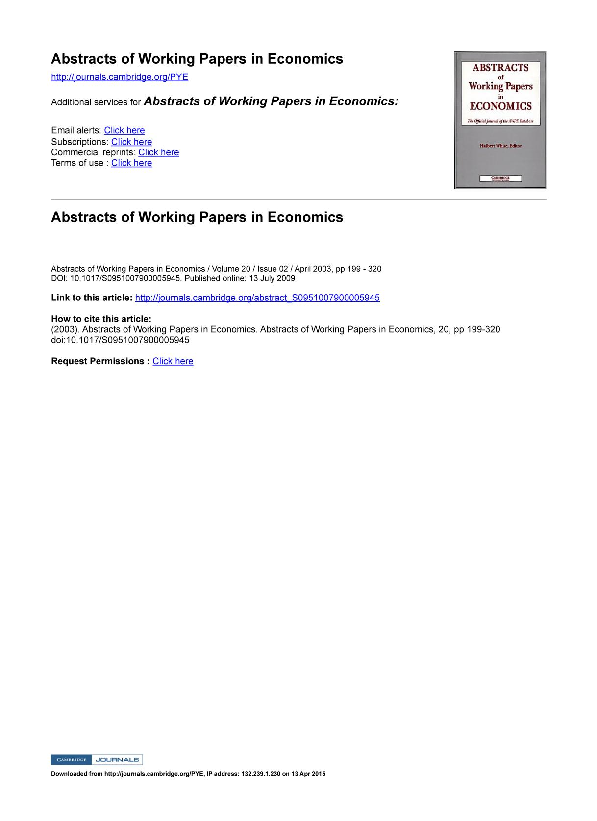 წიგნის ყდა Abstracts of Working Papers in Economics