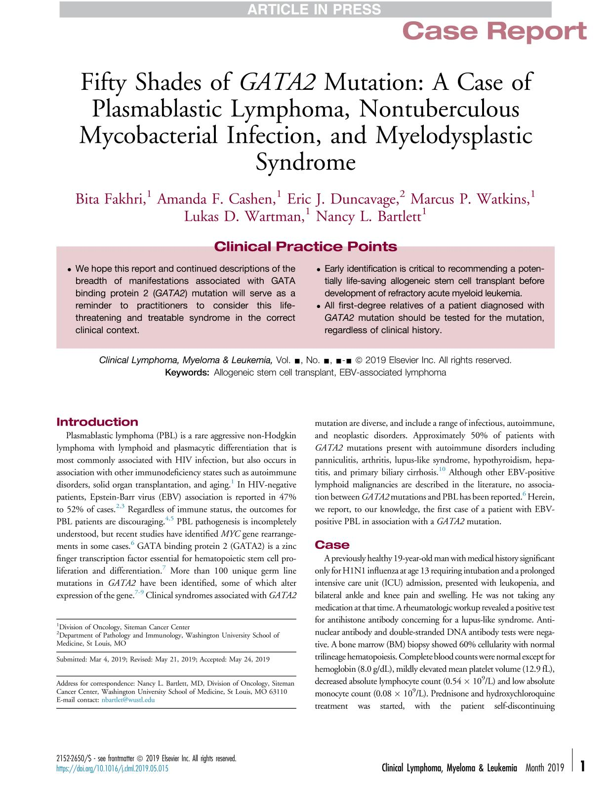 Book cover Fifty Shades of GATA2 Mutation: A Case of Plasmablastic Lymphoma, Nontuberculous Mycobacterial Infection, and Myelodysplastic Syndrome