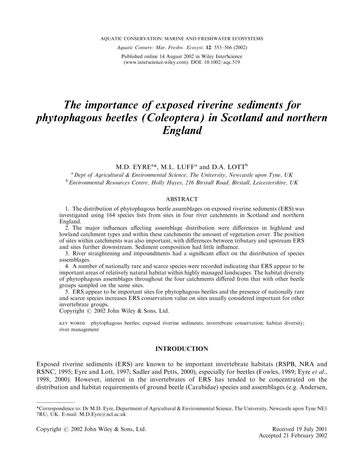 غلاف الكتاب The importance of exposed riverine sediments for phytophagous beetles (Coleoptera) in Scotland and northern England