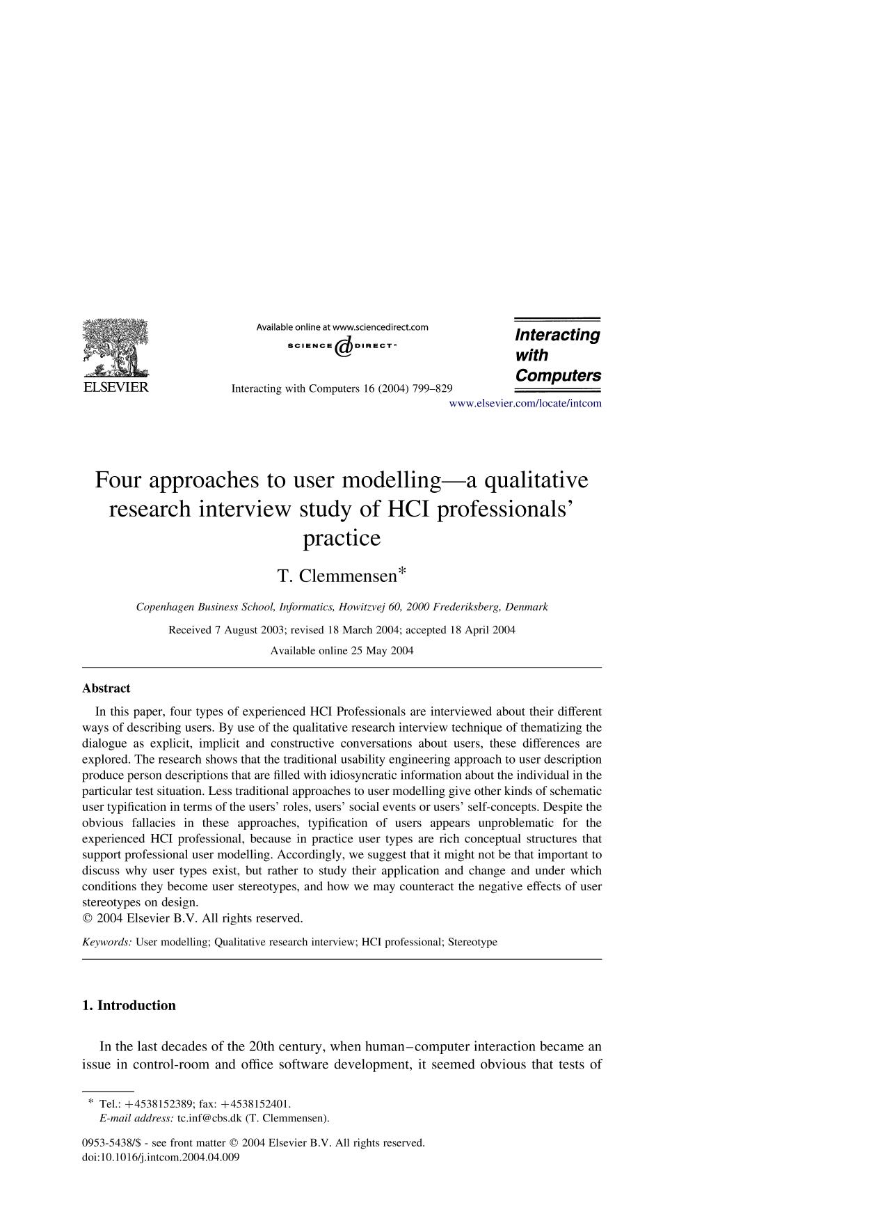 Обложка книги Four approaches to user modelling—a qualitative research interview study of HCI professionals' practice