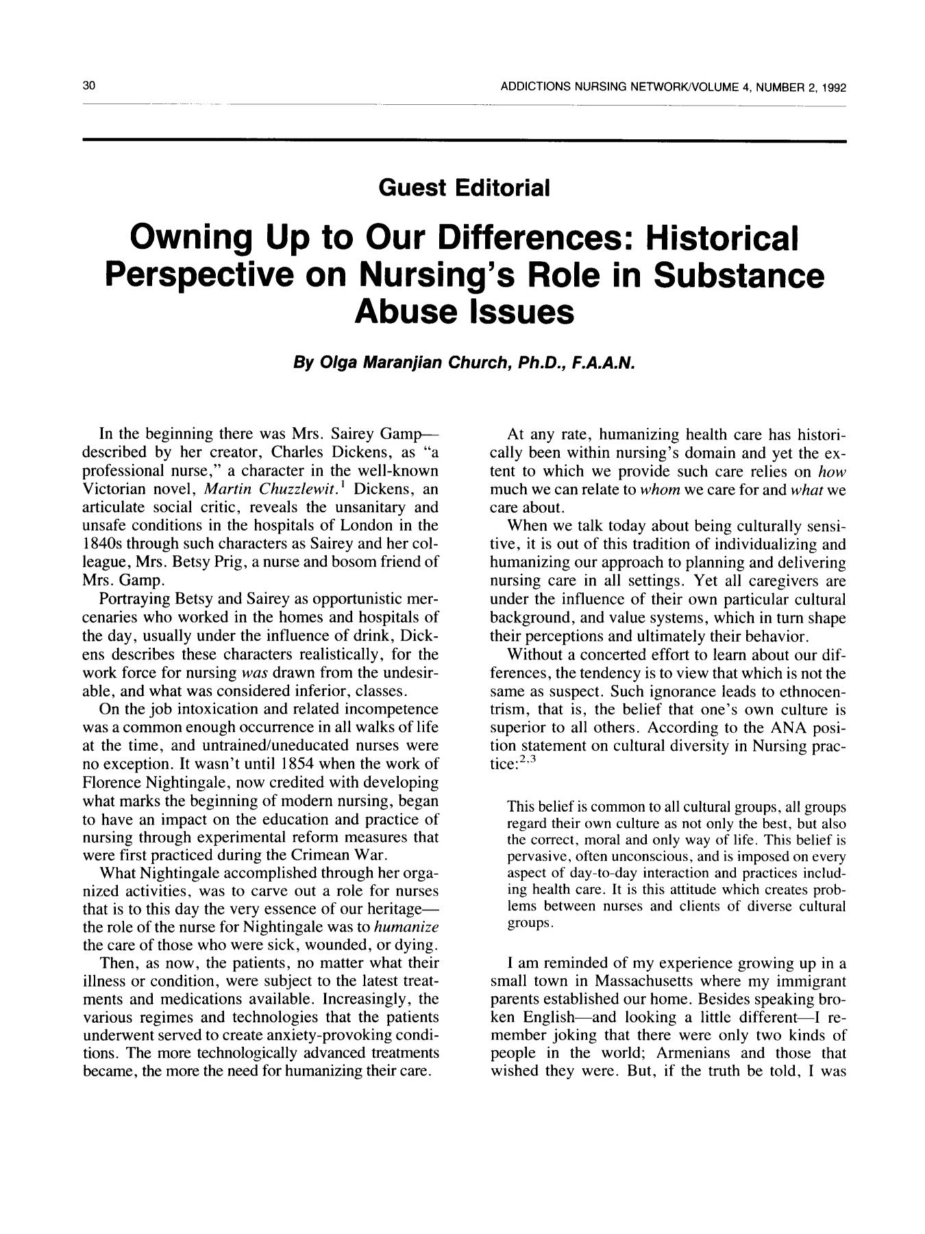წიგნის ყდა Guest Editorial: Owning Up to Our Differences: Historical Perspective on Nursing's Role in Substance Abuse Issues