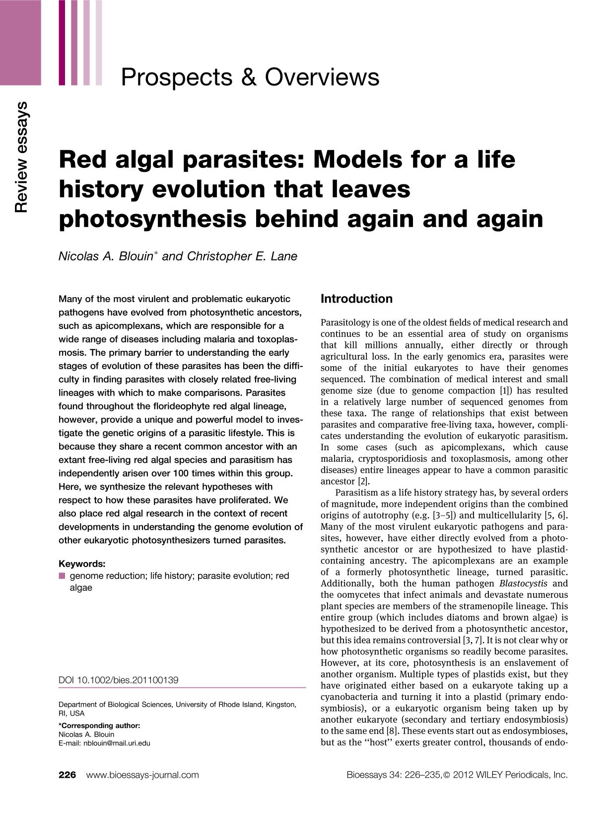 Book cover Red algal parasites: Models for a life history evolution that leaves photosynthesis behind again and again