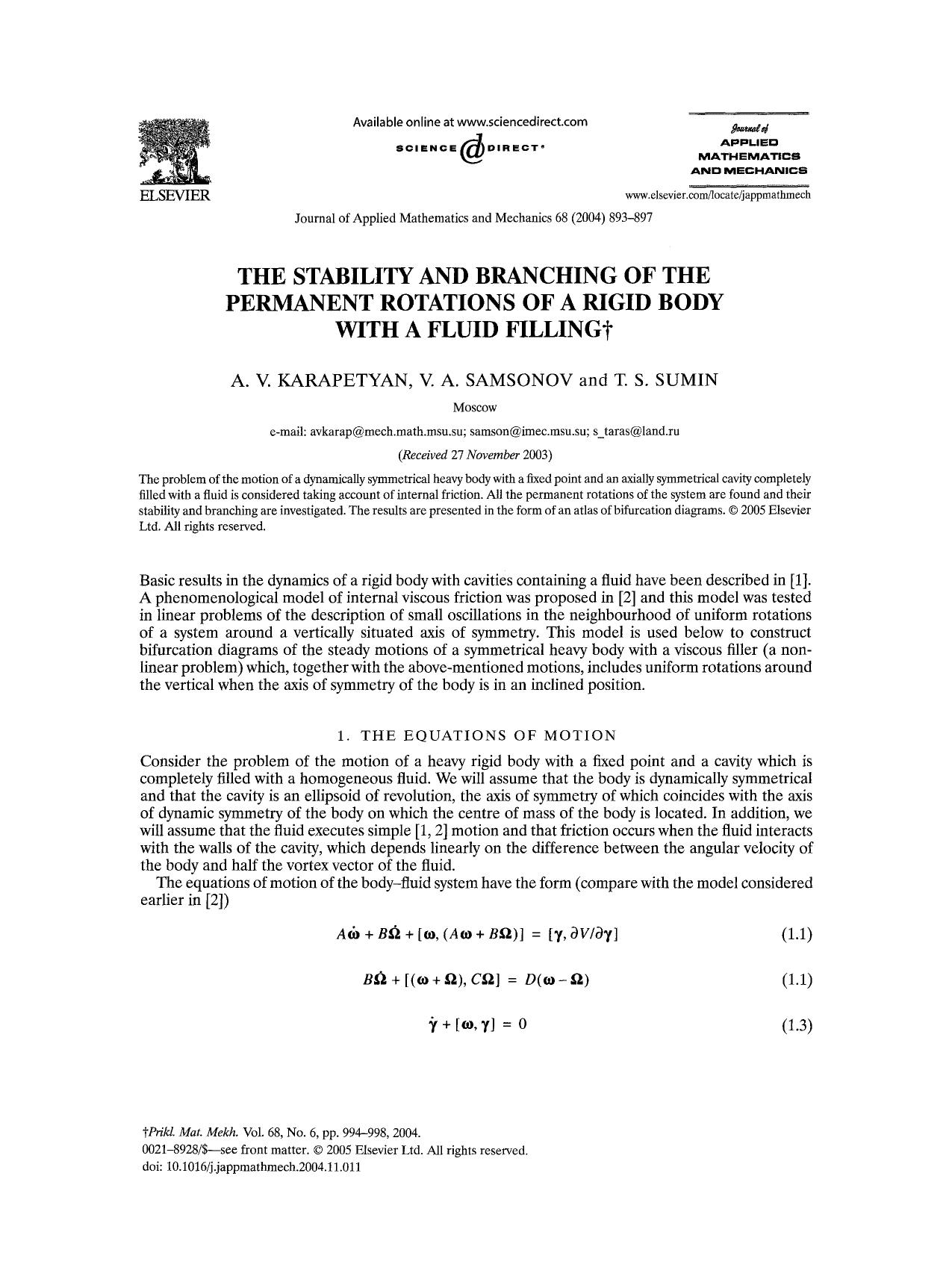 Portada del libro The stability and branching of the permanent rotations of a rigid body with a fluid filling
