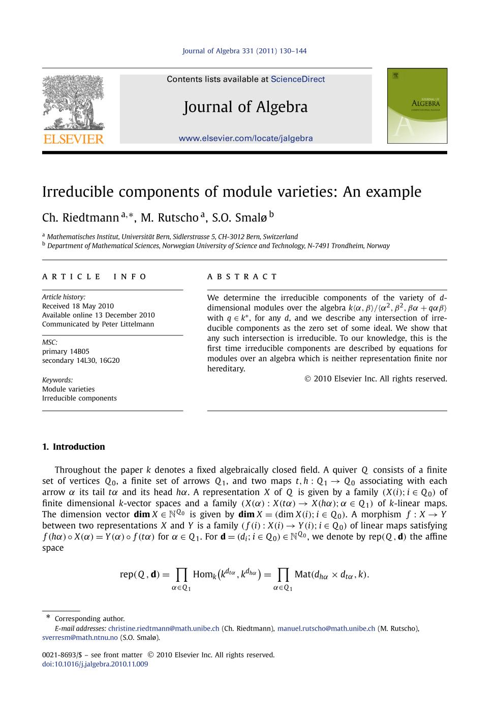 Book cover Irreducible components of module varieties: An example