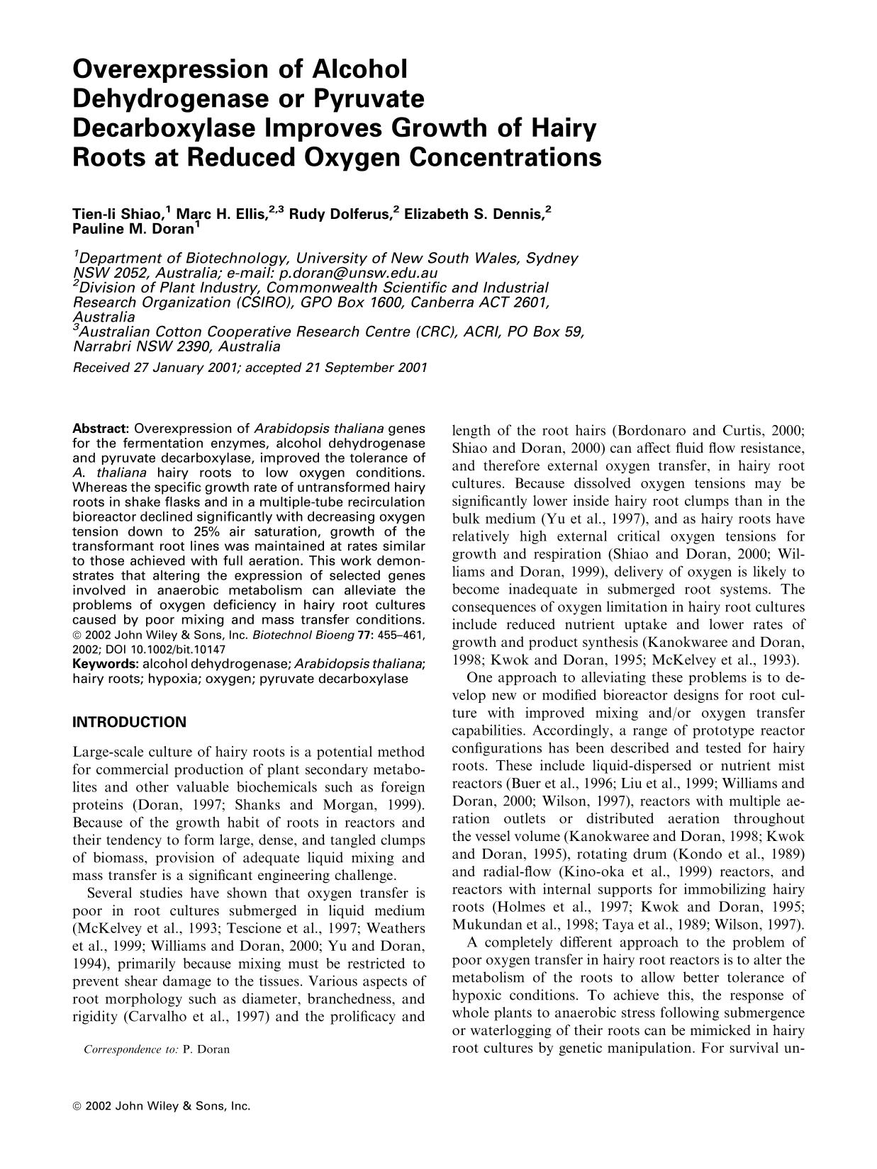 Portada del libro Overexpression of alcohol dehydrogenase or pyruvate decarboxylase improves growth of hairy roots at reduced oxygen concentrations