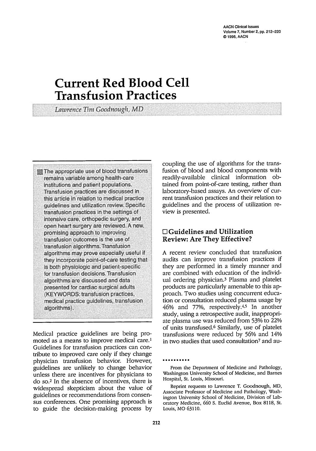 Couverture Current Red Blood Cell Transfusion Practices