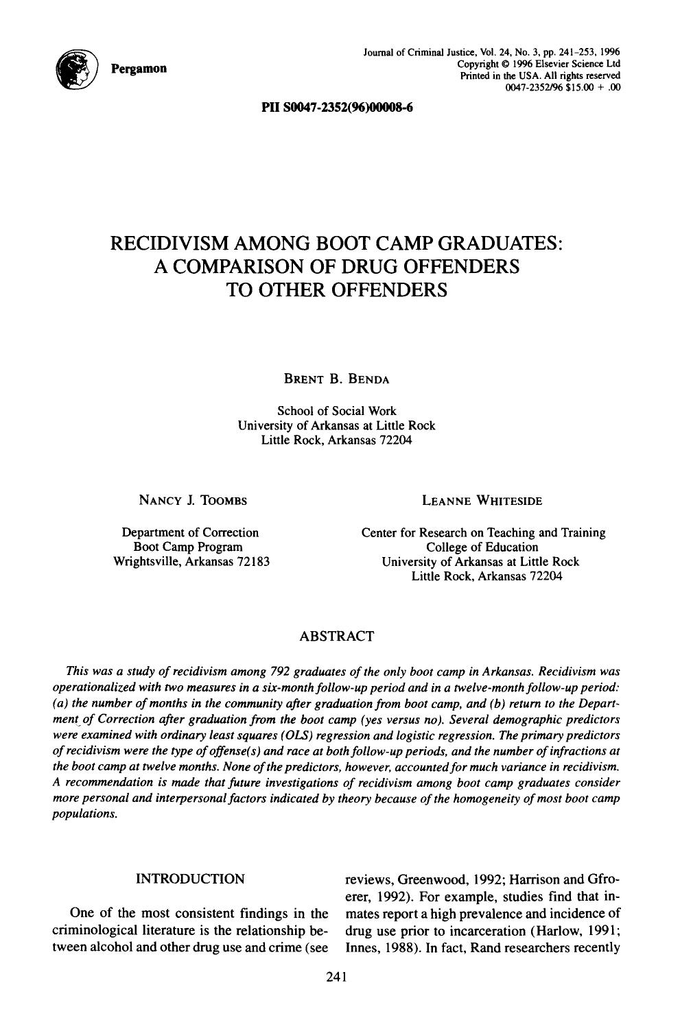 Обкладинка книги Recidivism among boot camp graduates: A comparison of drug offenders to other offenders