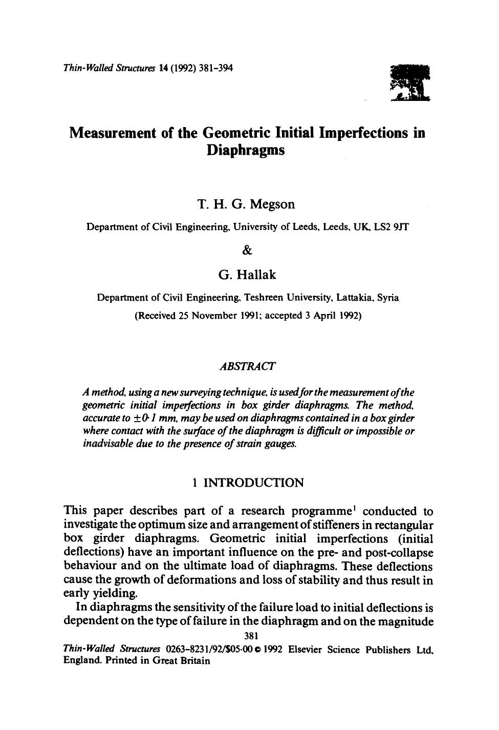Book cover Measurement of the geometric initial imperfections in diaphragms