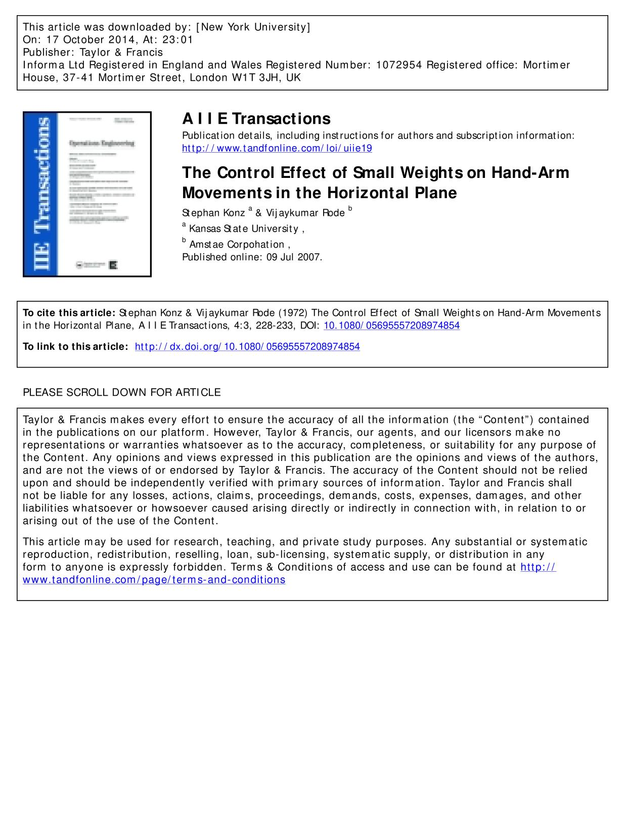 Обкладинка книги The Control Effect of Small Weights on Hand-Arm Movements in the Horizontal Plane