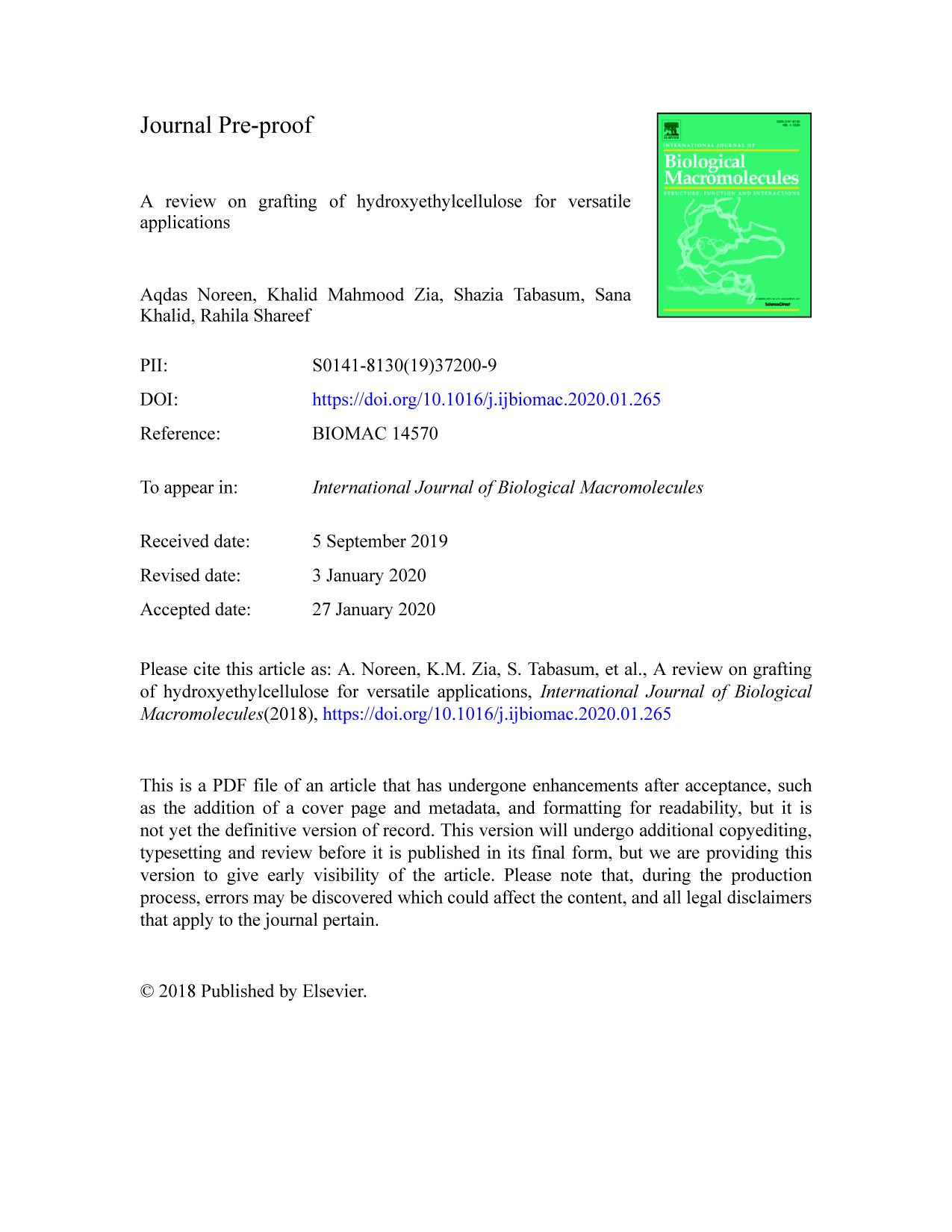 غلاف الكتاب A review on grafting of hydroxyethylcellulose for versatile applications