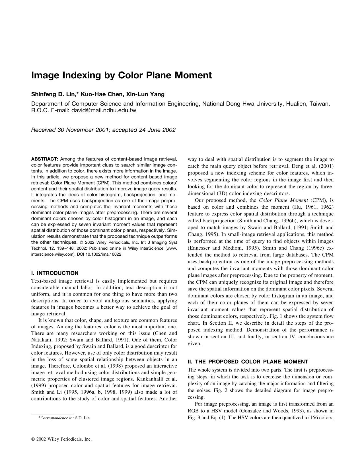 Обложка книги Image indexing by Color Plane Moment