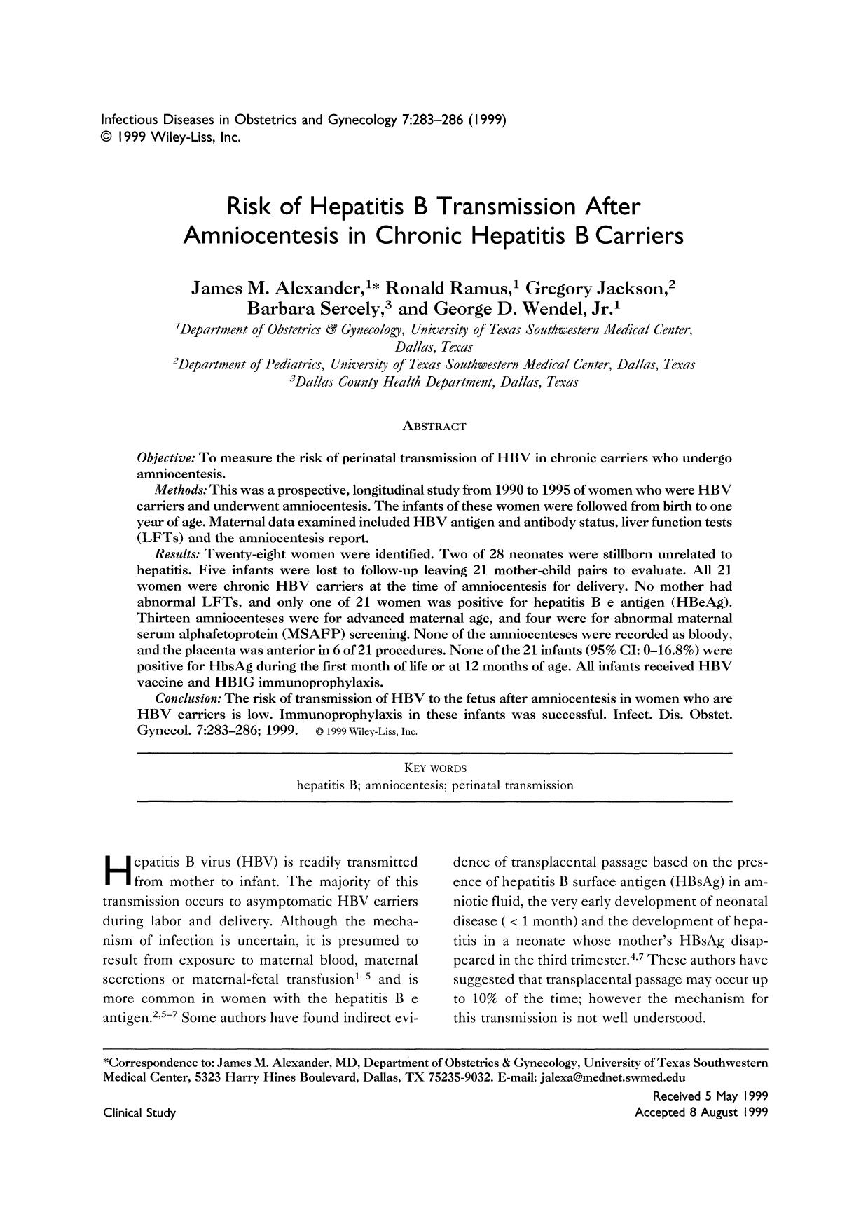 封面 Risk of Hepatitis B Transmission After Amniocentesis in Chronic Hepatitis B Carriers