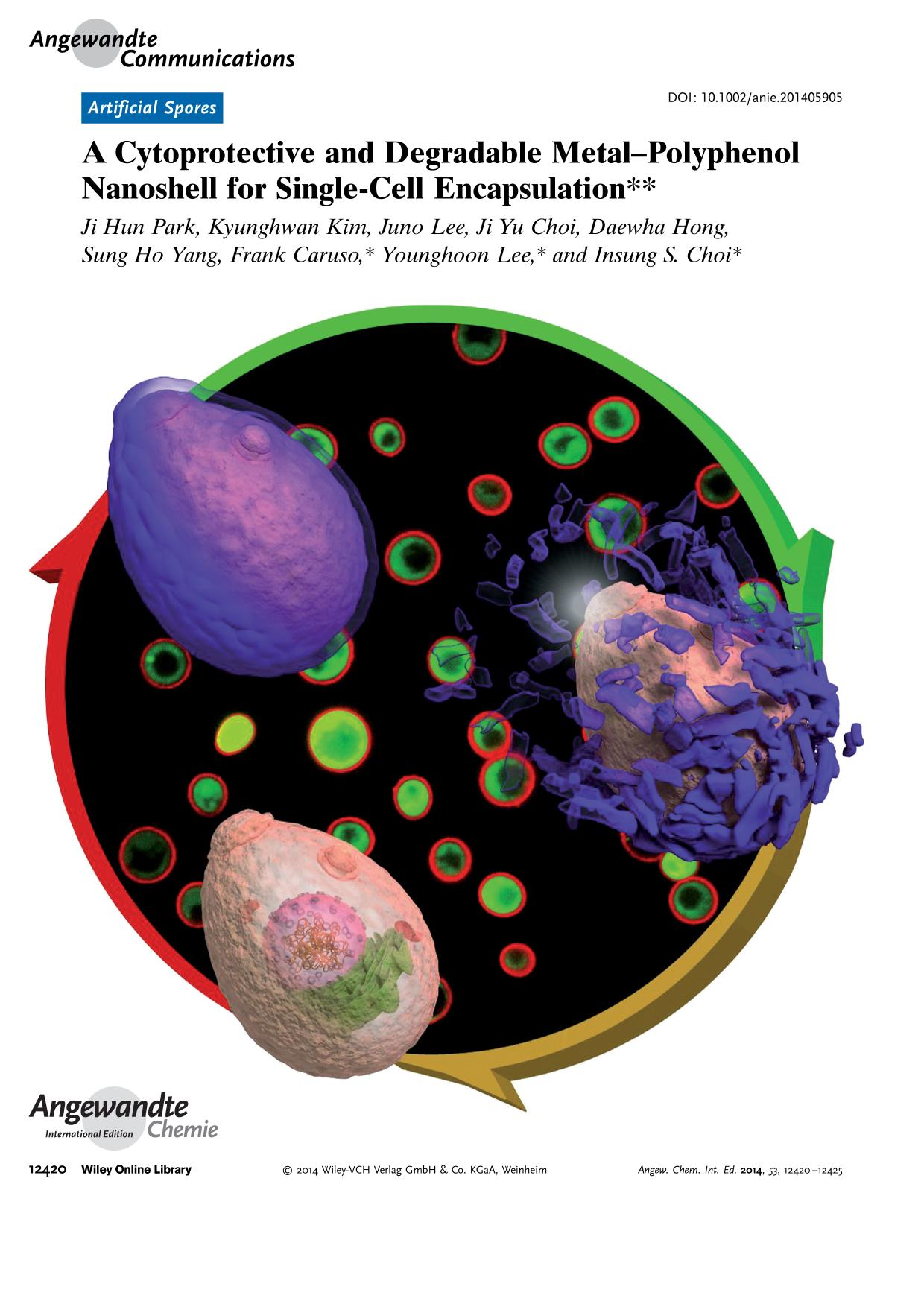 Buchcover Frontispiece: A Cytoprotective and Degradable Metal-Polyphenol Nanoshell for Single-Cell Encapsulation