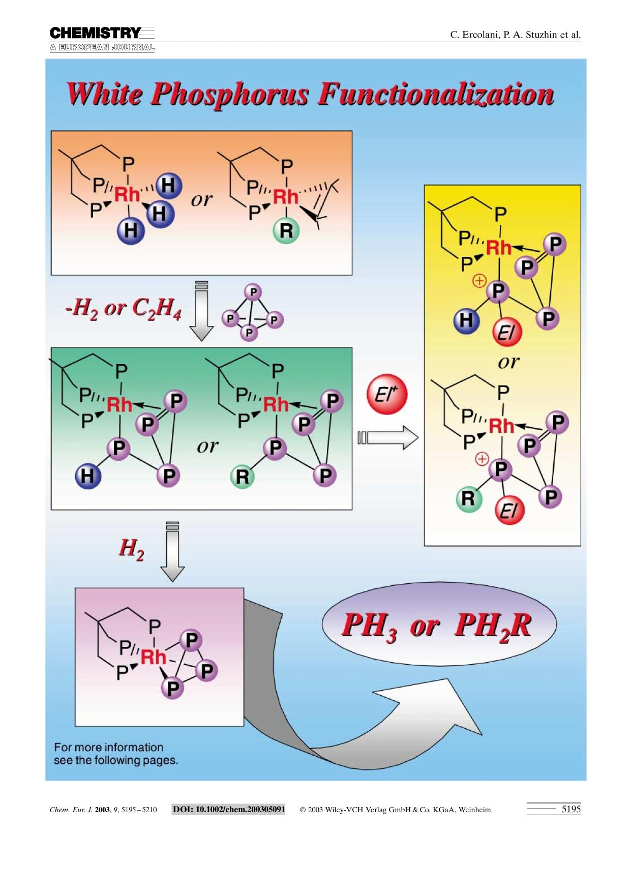 表紙 Activation and Functionalization of White Phosphorus at Rhodium: Experimental and Computational Analysis of the [(triphos)Rh (η1:η2-P4RR′)]Y Complexes (triphos=MeC(CH2PPh2)3; R=H, Alkyl, Aryl; R′=2 Electrons, H, Me)