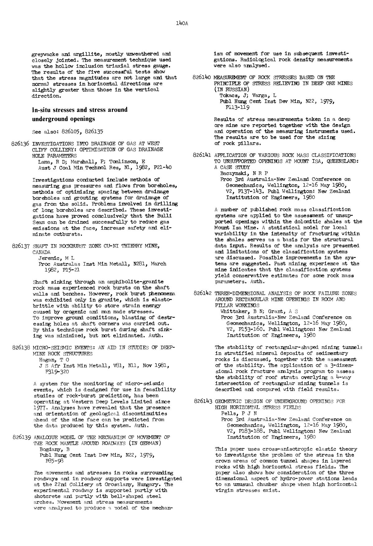 Copertina del libro Application of various rock mass classifications to unsupported openings at Mount Isa, Queensland: A case study : Baczynski, N R P Proc 3rd Australia-New Zealand Conference on Geomechanics, Wellington, 12–16 May 1980, V2, P137–143. Publ Wellington: New Zealand Institution of Engineers, 1980