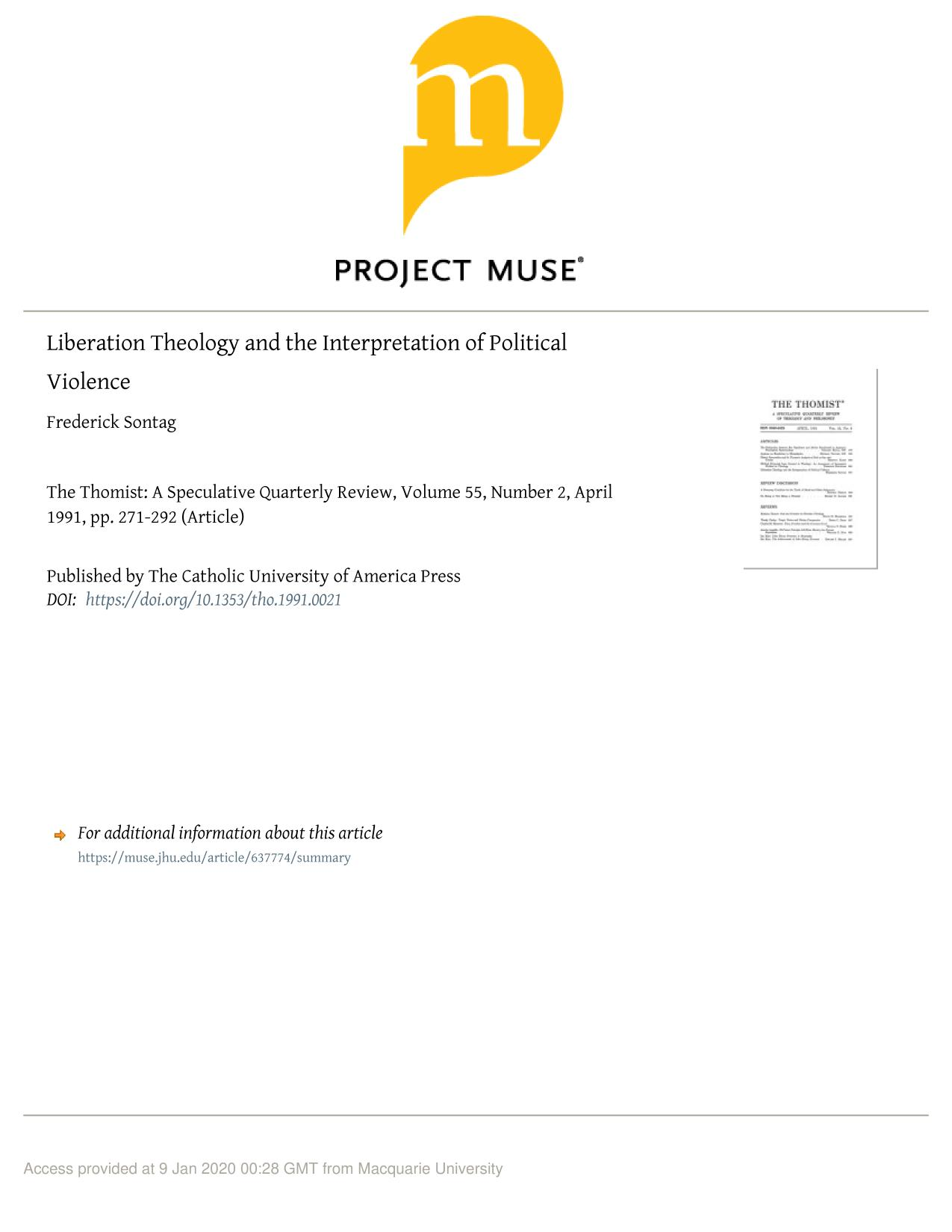 Book cover Liberation Theology and the Interpretation of Political Violence