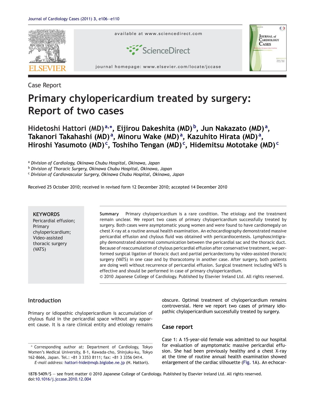 Couverture du livre Primary chylopericardium treated by surgery: Report of two cases