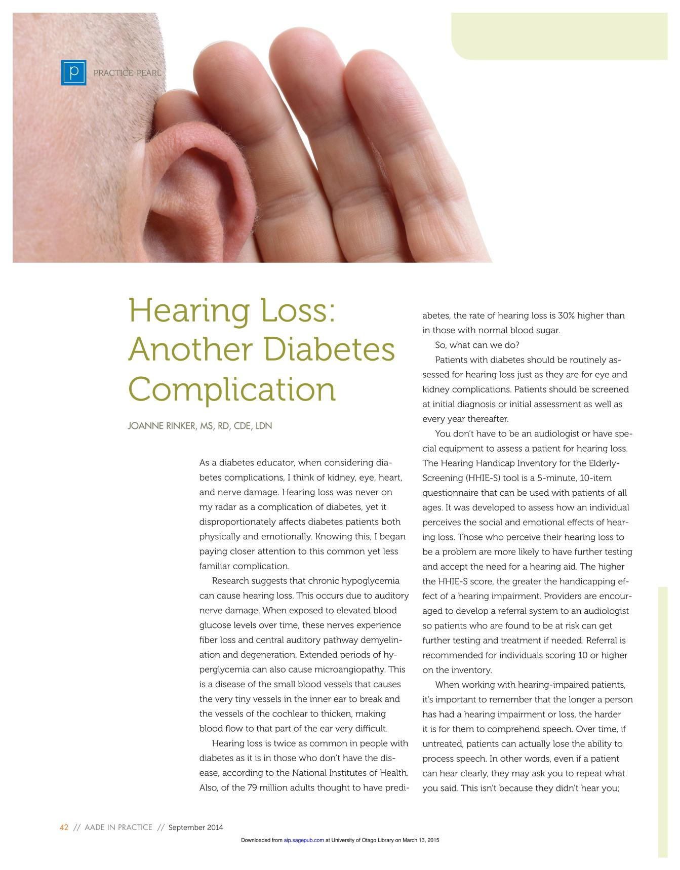Book cover Hearing Loss: Another Diabetes Complication
