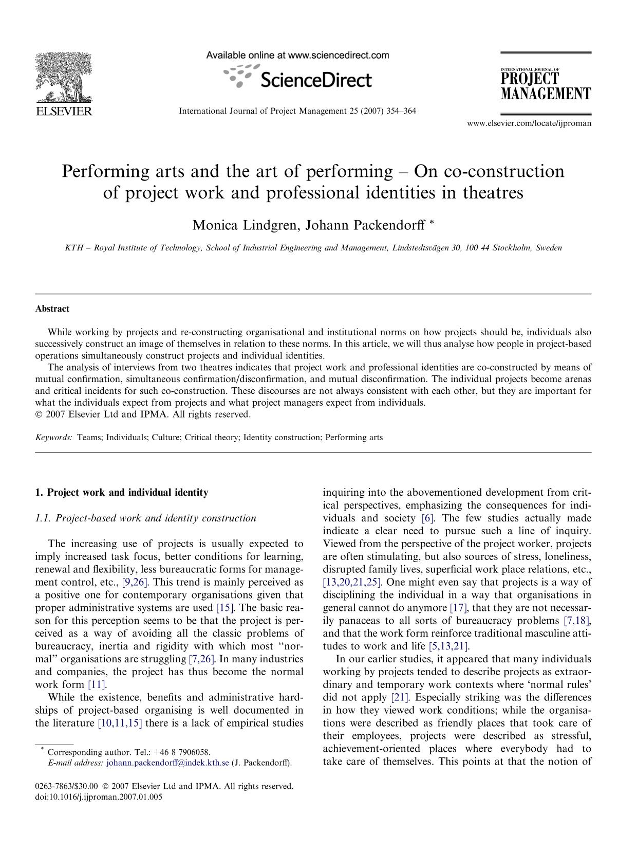 Portada del libro Performing arts and the art of performing – On co-construction of project work and professional identities in theatres
