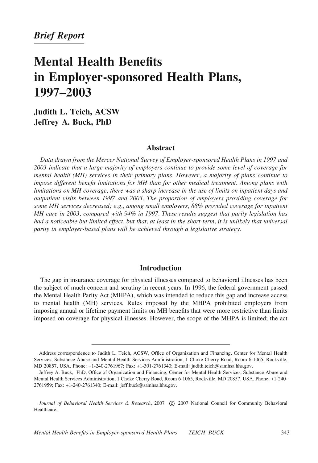 Portada del libro Mental Health Benefits in Employer-sponsored Health Plans, 1997–2003