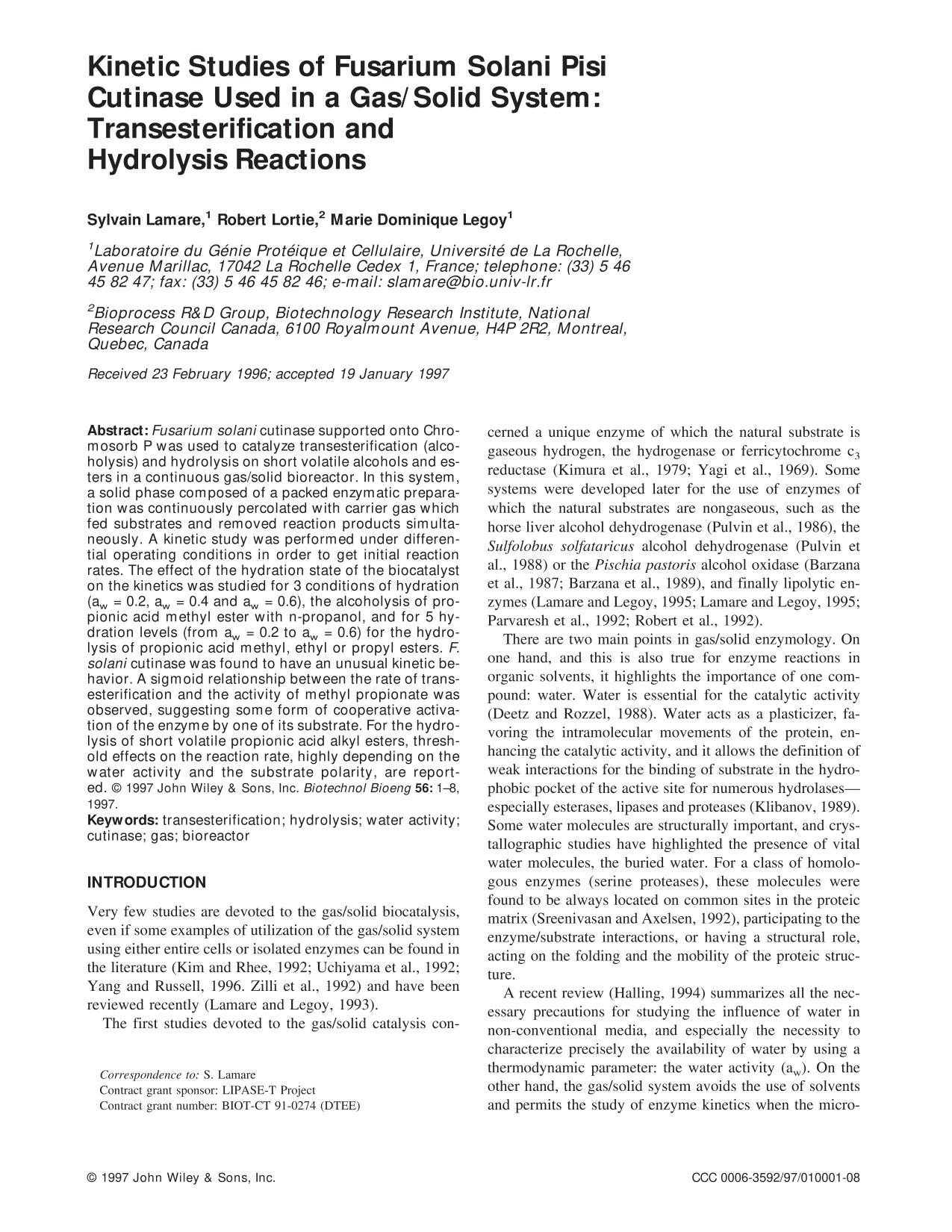Buchcover Kinetic studies of fusarium solani pisi cutinase used in a gas/solid system: Transesterification and hydrolysis reactions
