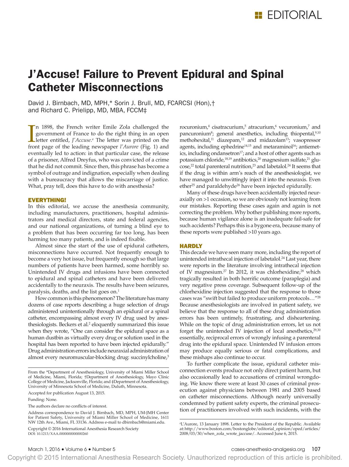 Buchcover J'Accuse! Failure to Prevent Epidural and Spinal Catheter Misconnections