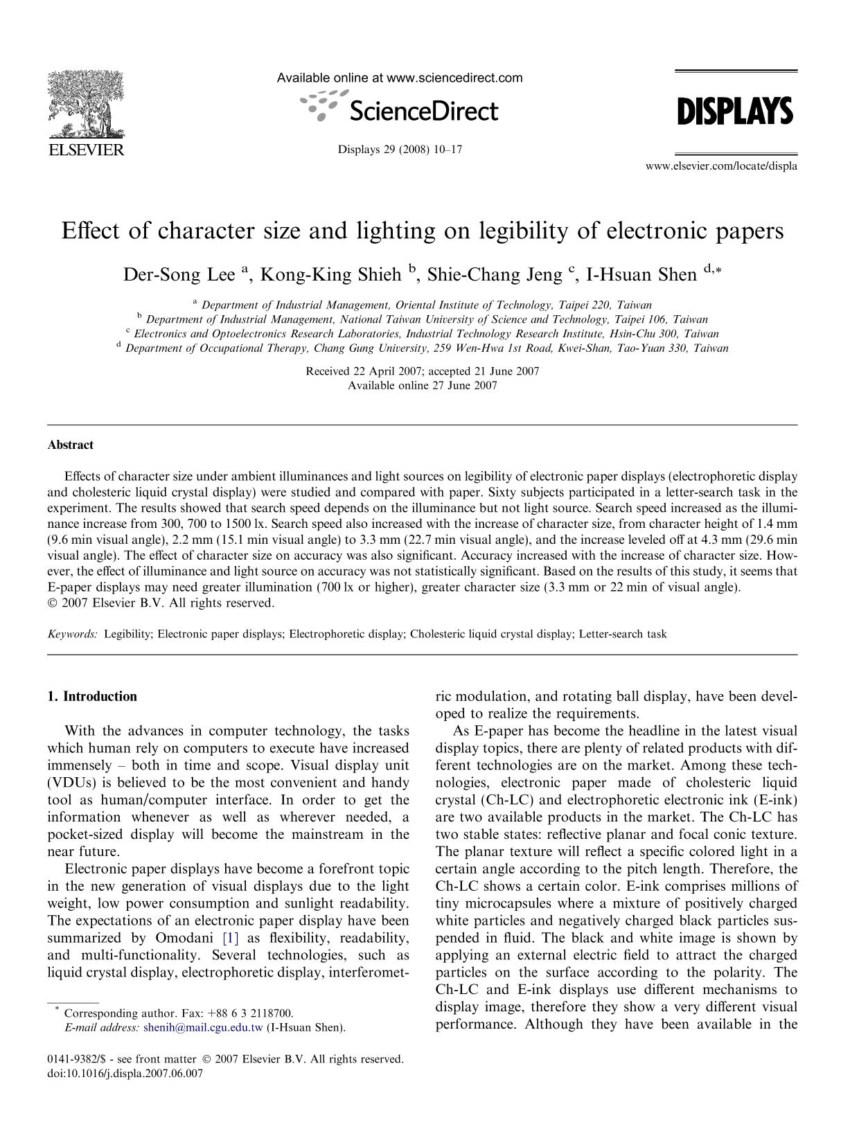 Book cover Effect of character size and lighting on legibility of electronic papers