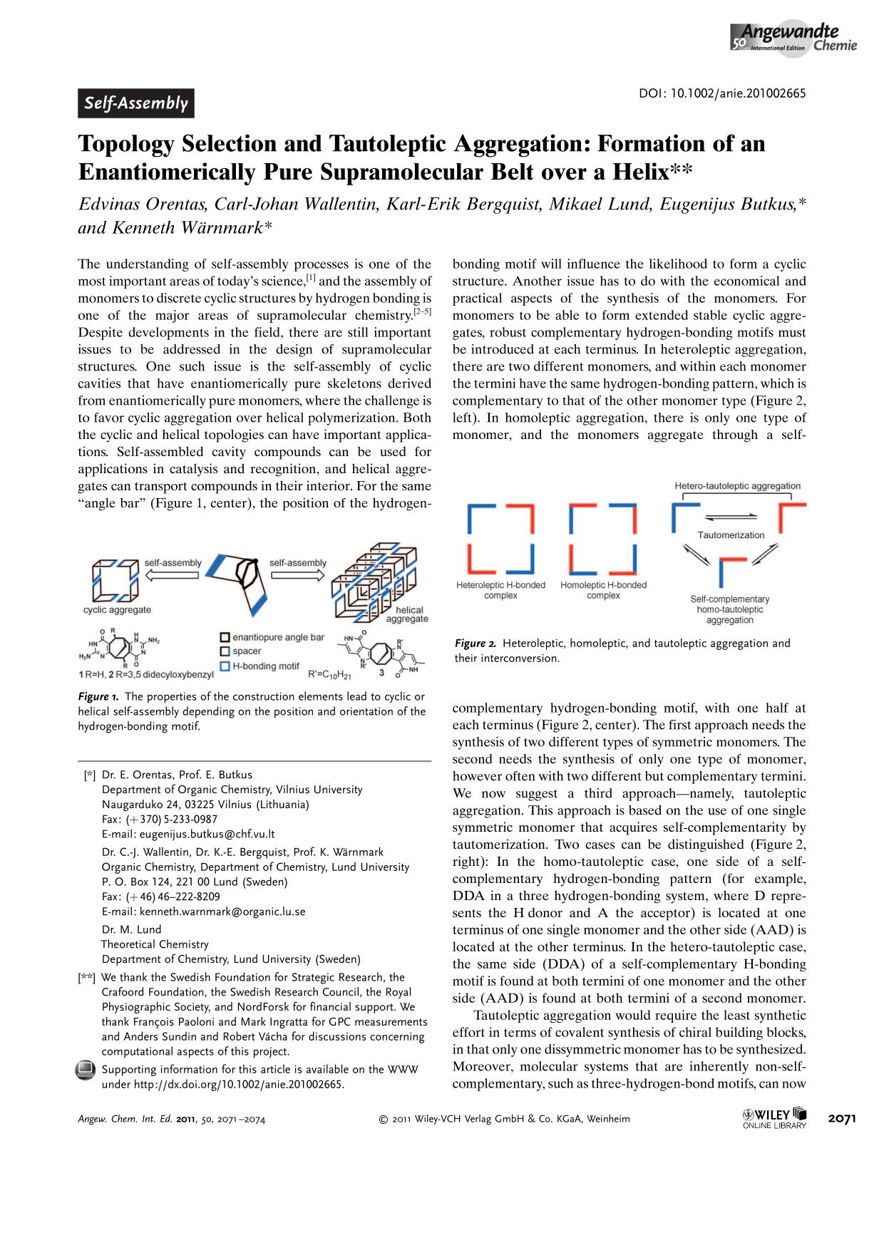 Kover buku Topology Selection and Tautoleptic Aggregation: Formation of an Enantiomerically Pure Supramolecular Belt over a Helix