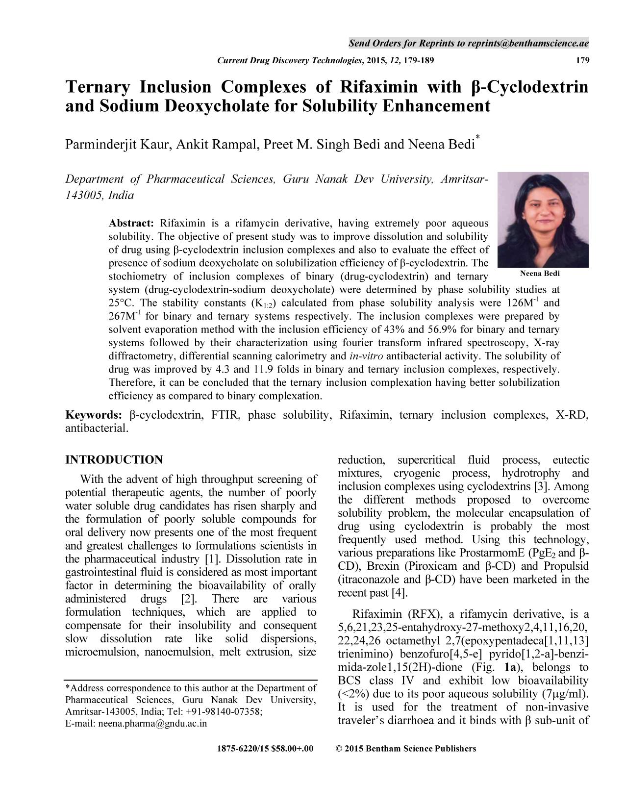 Book cover Ternary Inclusion Complexes of Rifaximin with β-Cyclodextrin and Sodium Deoxycholate for Solubility Enhancement