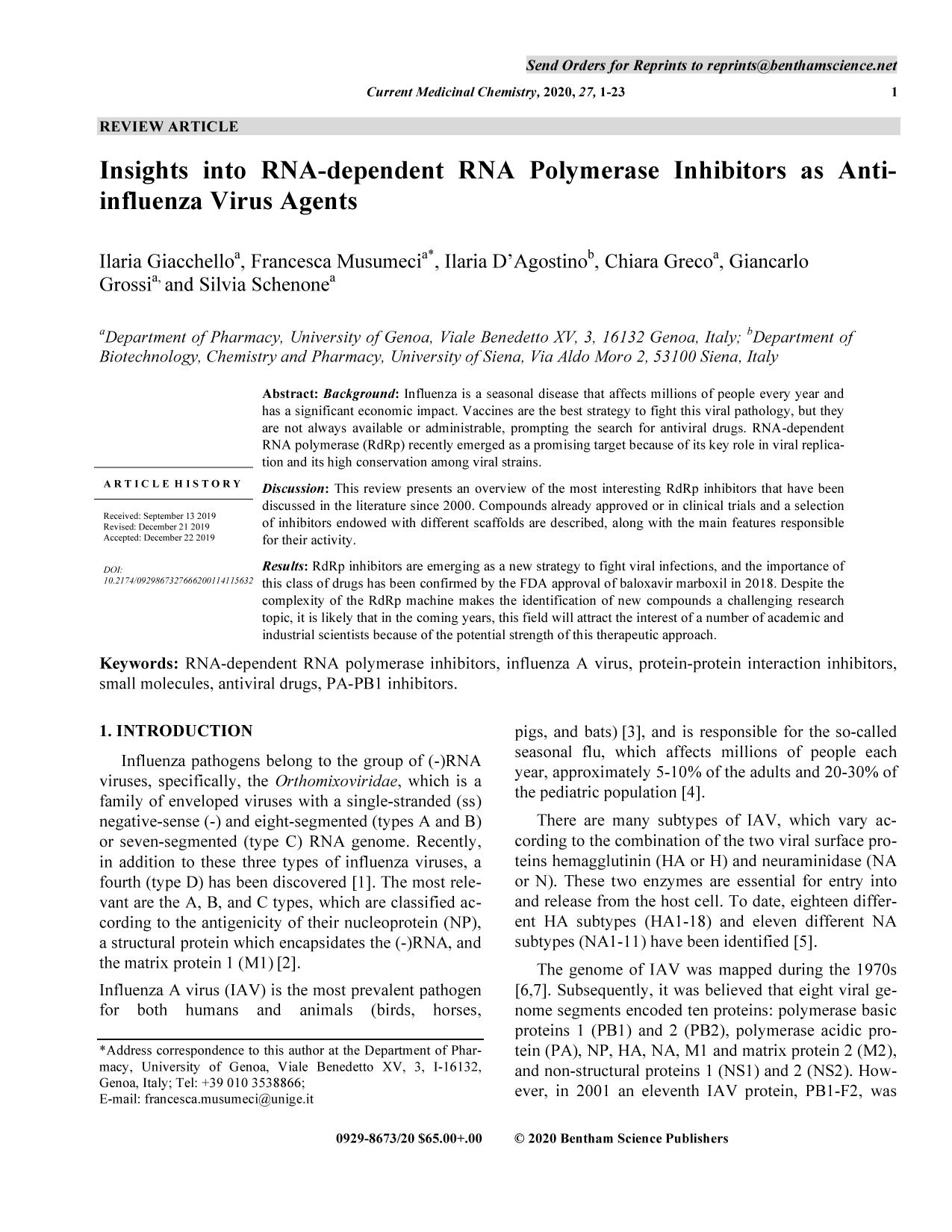 Book cover Insights into RNA-dependent RNA Polymerase Inhibitors as Anti-influenza Virus Agents.