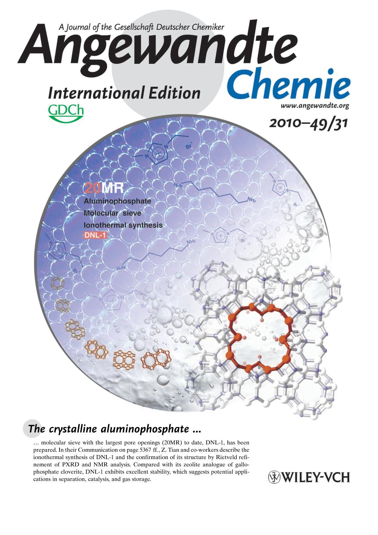 Portada del libro Inside Cover: Ionothermal Synthesis of an Aluminophosphate Molecular Sieve with 20-Ring Pore Openings (Angew. Chem. Int. Ed. 31/2010)