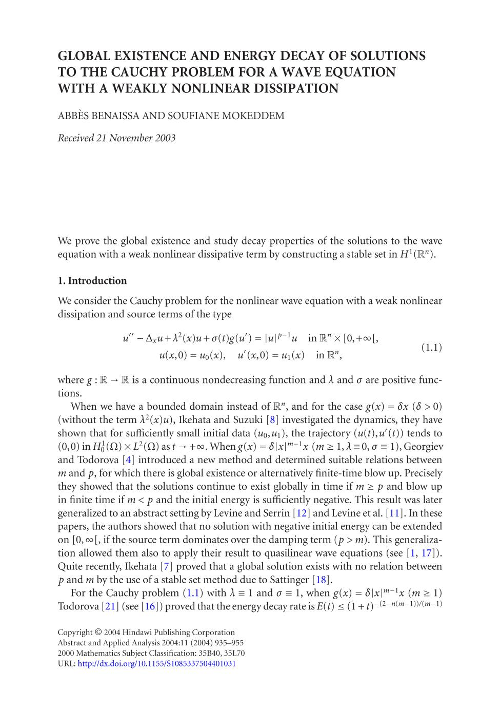पुस्तक आवरण Global existence and energy decay of solutions to the Cauchy problem for a wave equation with a weakly nonlinear dissipation